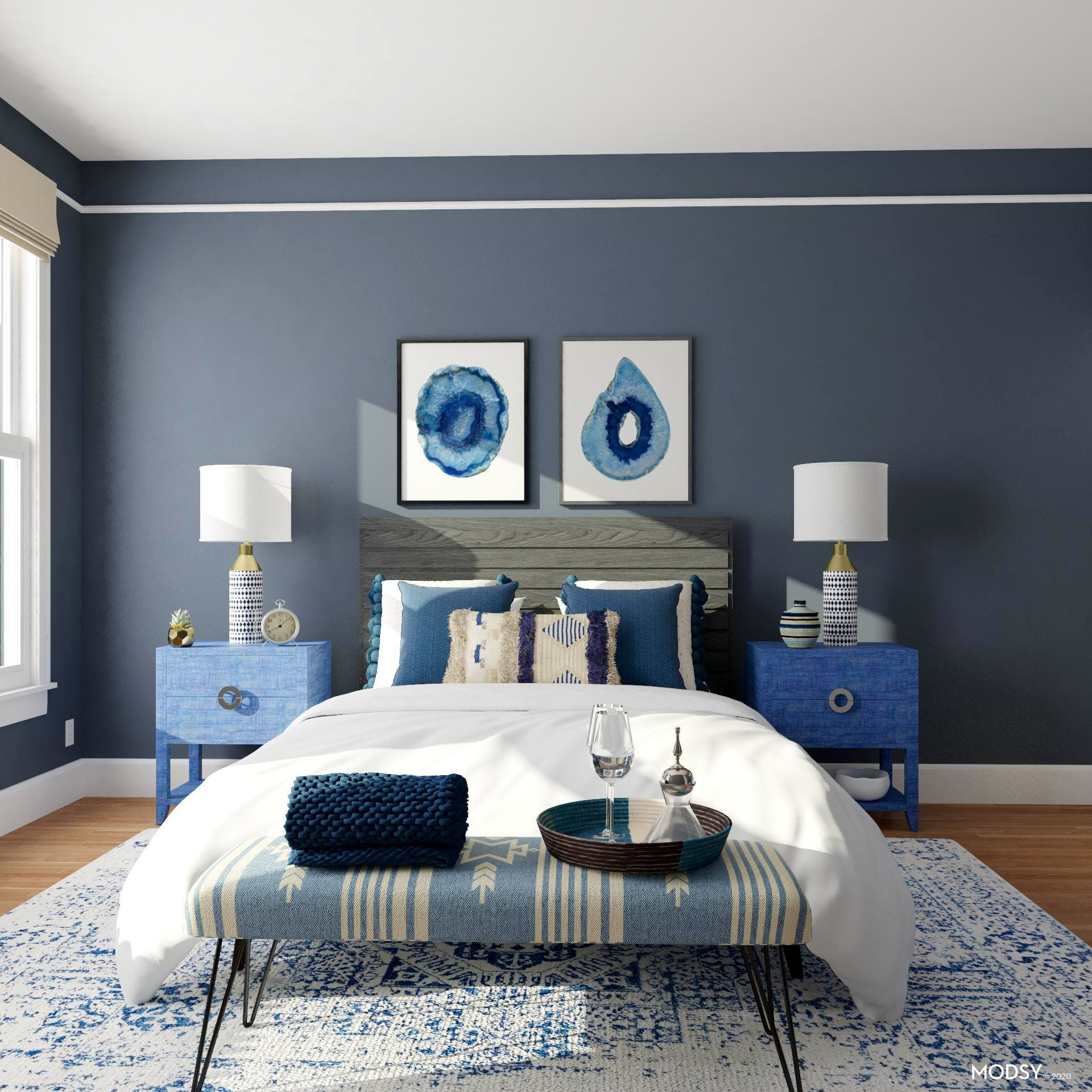 Blue Dresser: Eclectic Bedroom