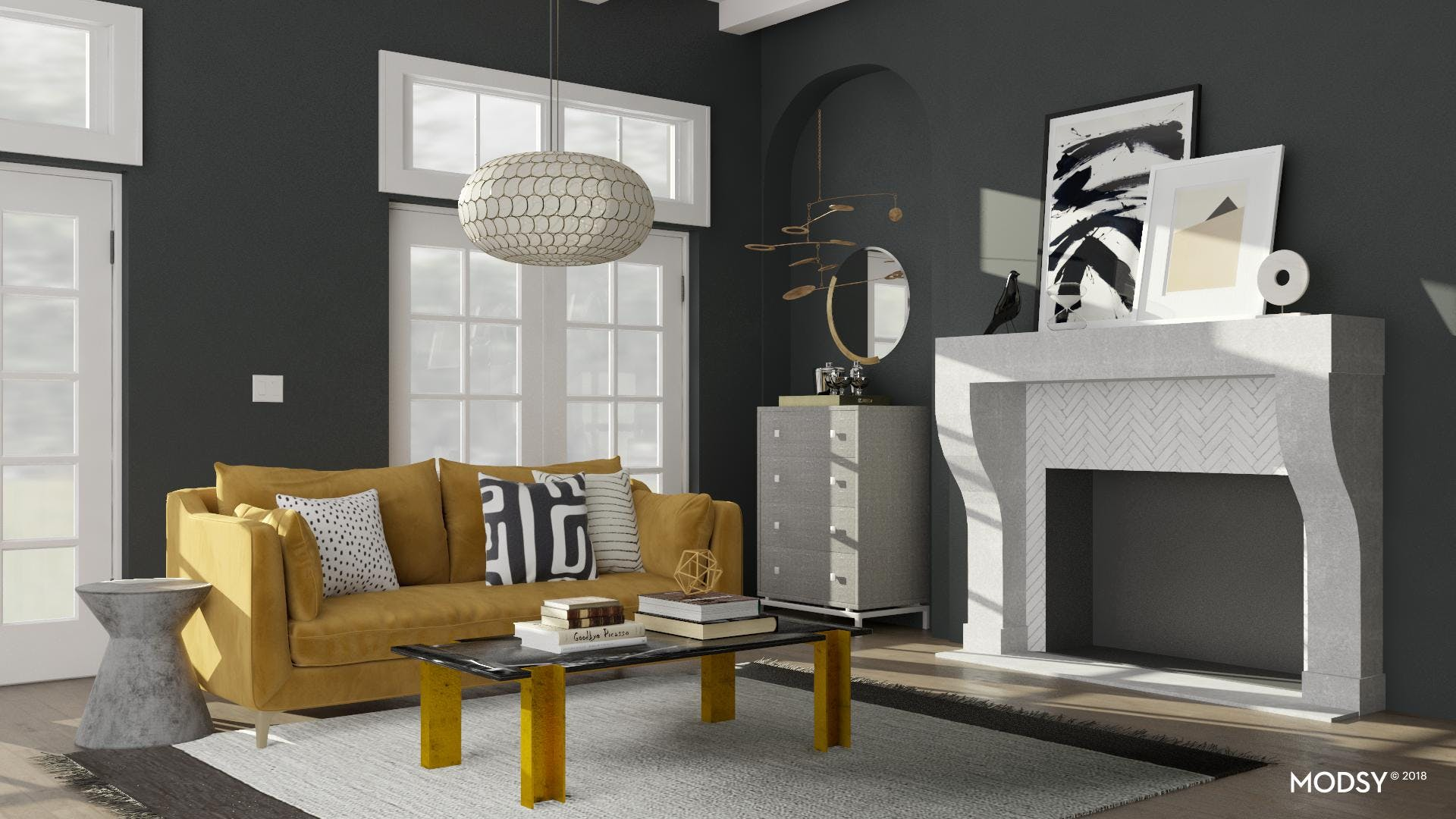 A Living Room Full Of Yellows And Grays