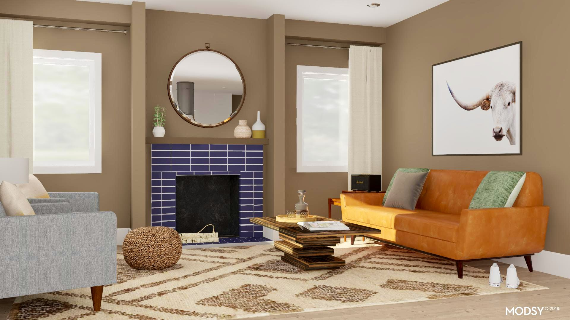 A Mid-Century Seating Arrangement with A Masculine Edge