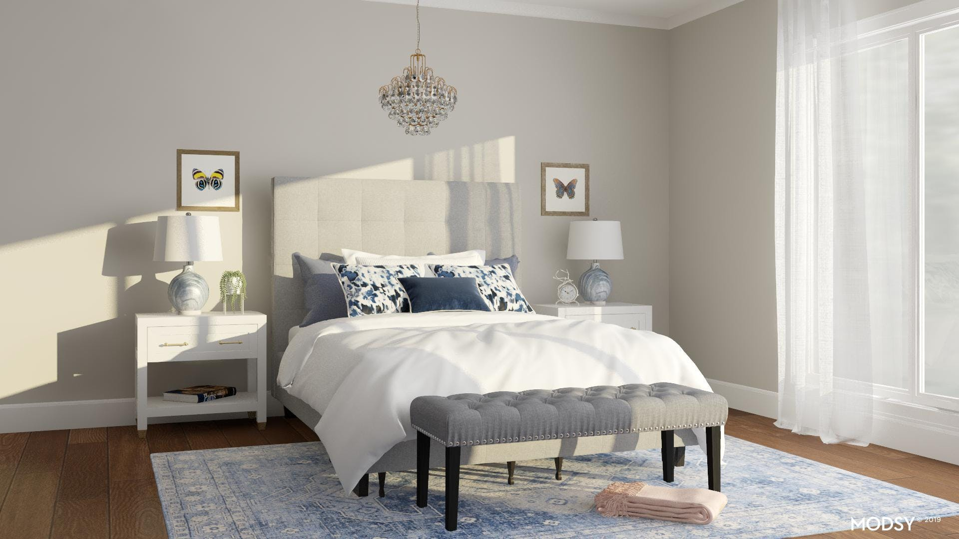 Classic Blue And White Bedroom With A Little Bling