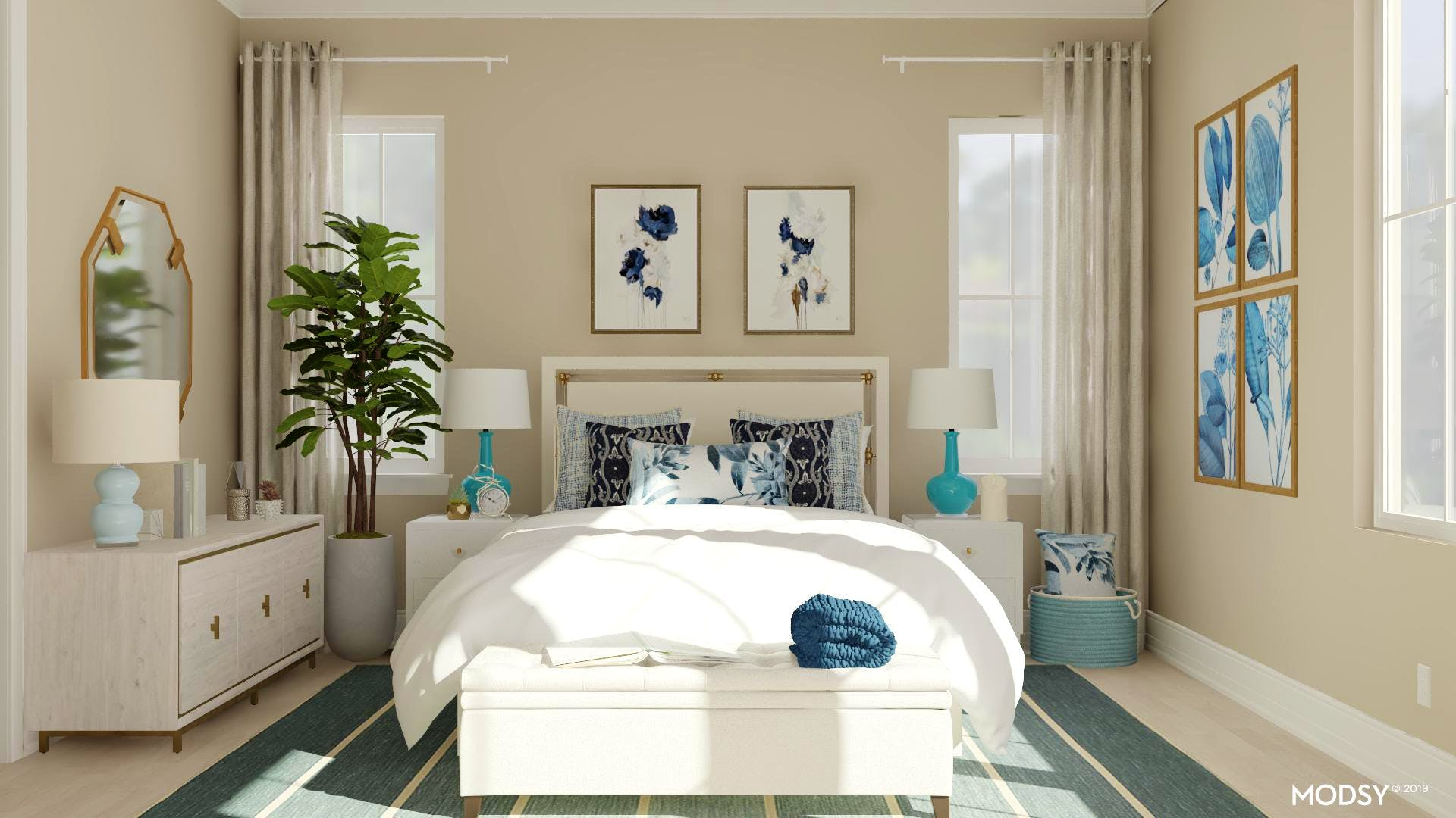 Calm Blues: Feminine Master Bedroom