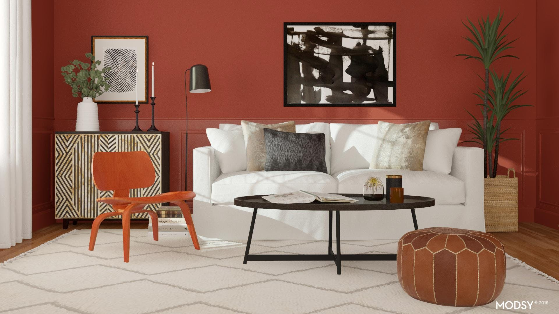 Bold Geometric with Red Accent Living Room