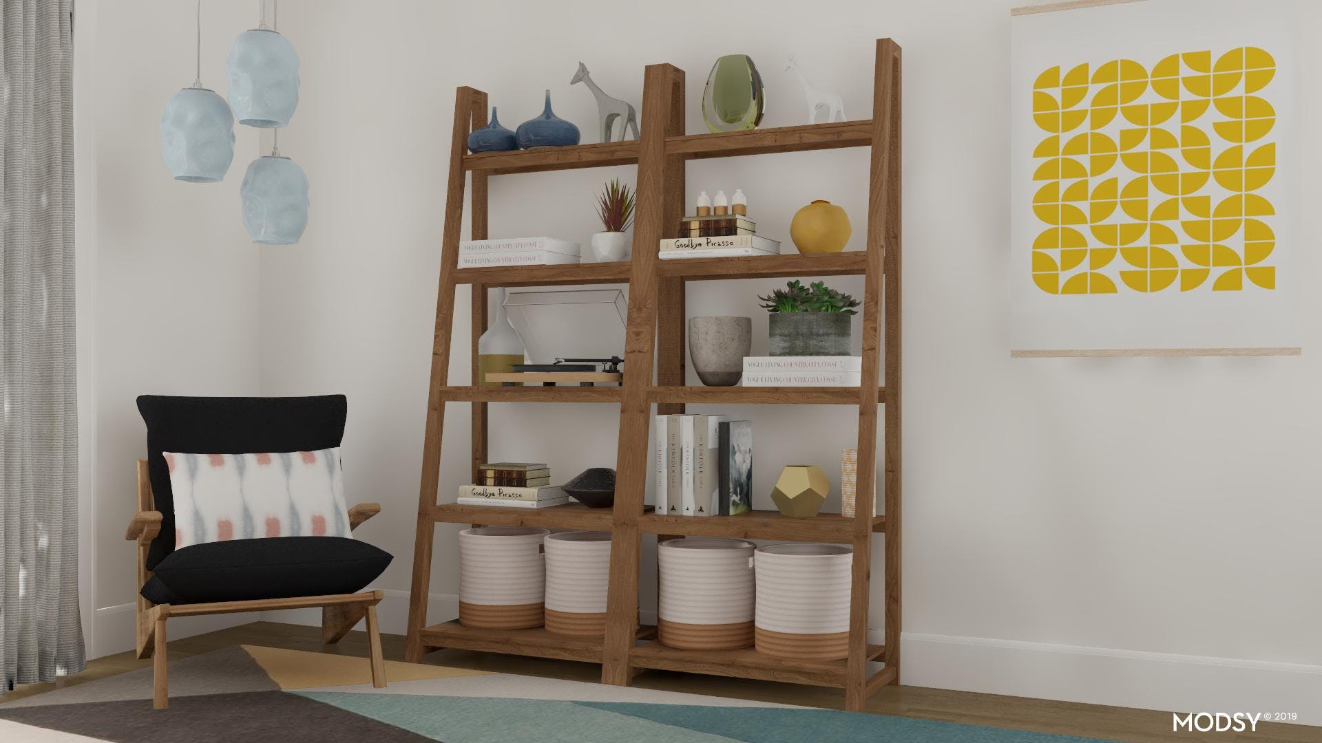 Office Bookcase Styling With Fun Pops Of Color