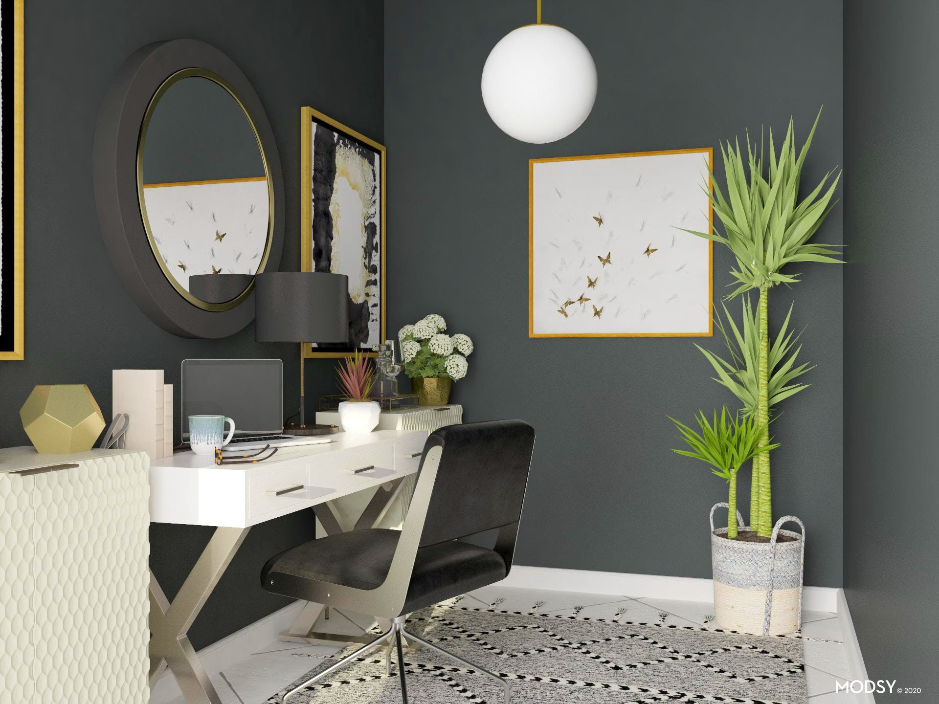 Chic Glam Black and White Office