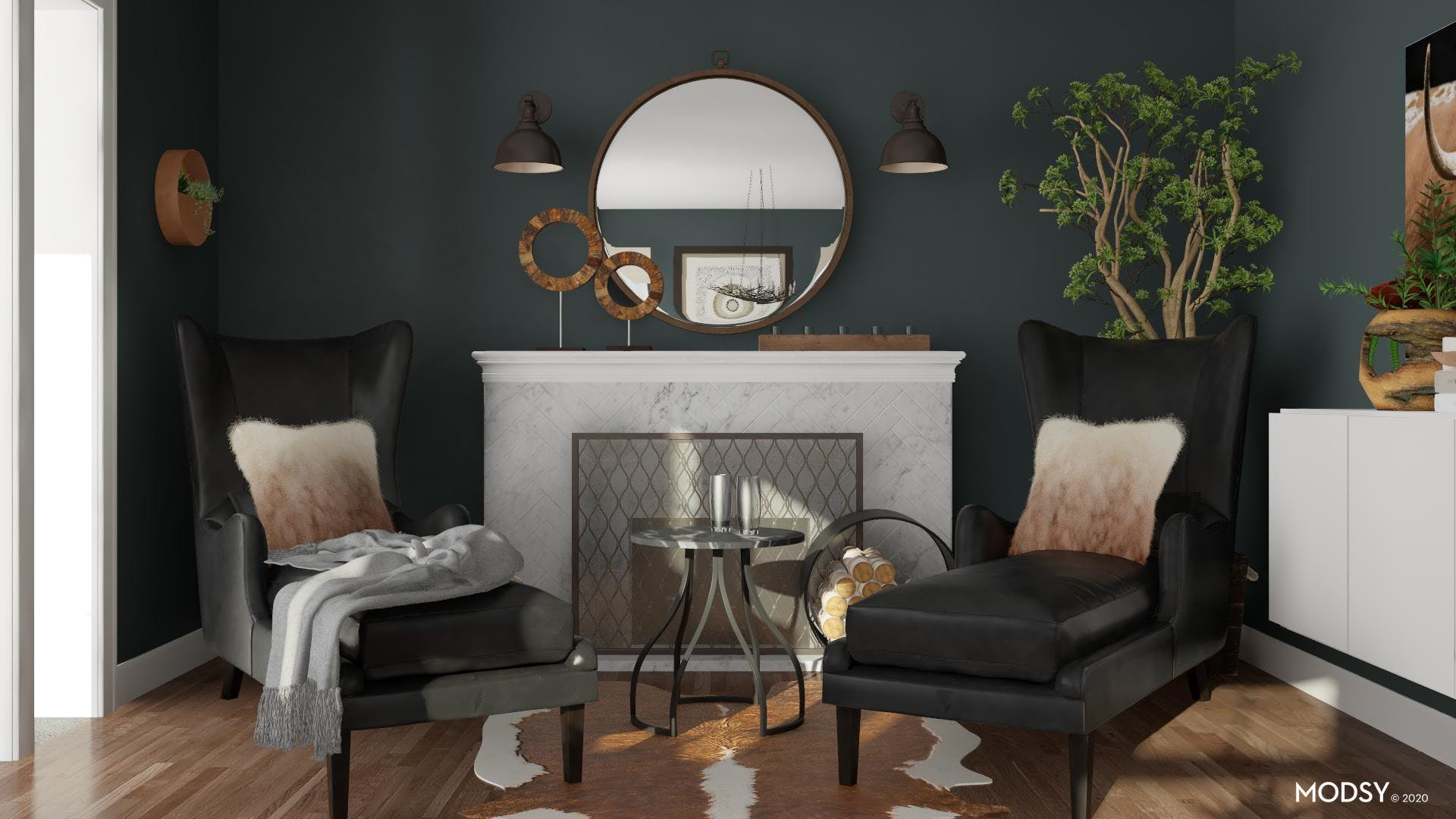 Rustic Cozy: Fireplace Chaise
