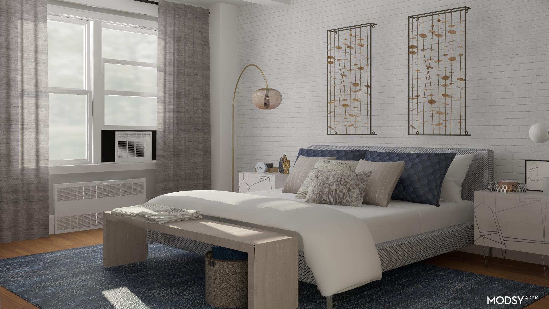 Modern Blue And Mixed Metals Bedroom