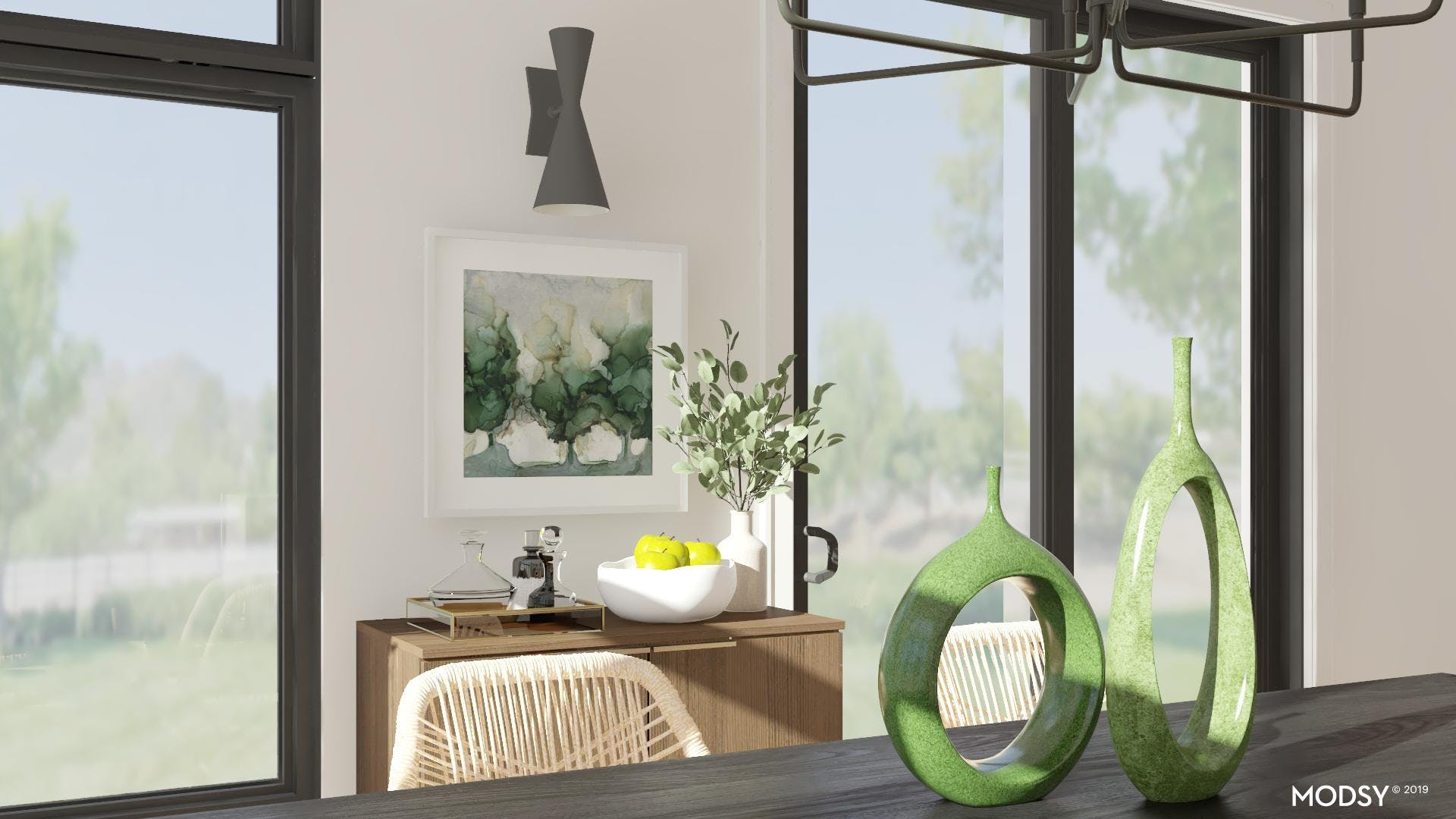 Shades Of Green Shine In This Dining Room