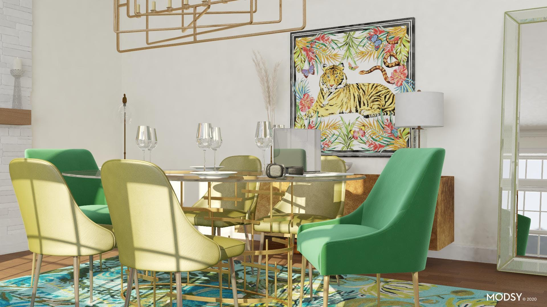 Green With Envy In A Glamorous Dining Room