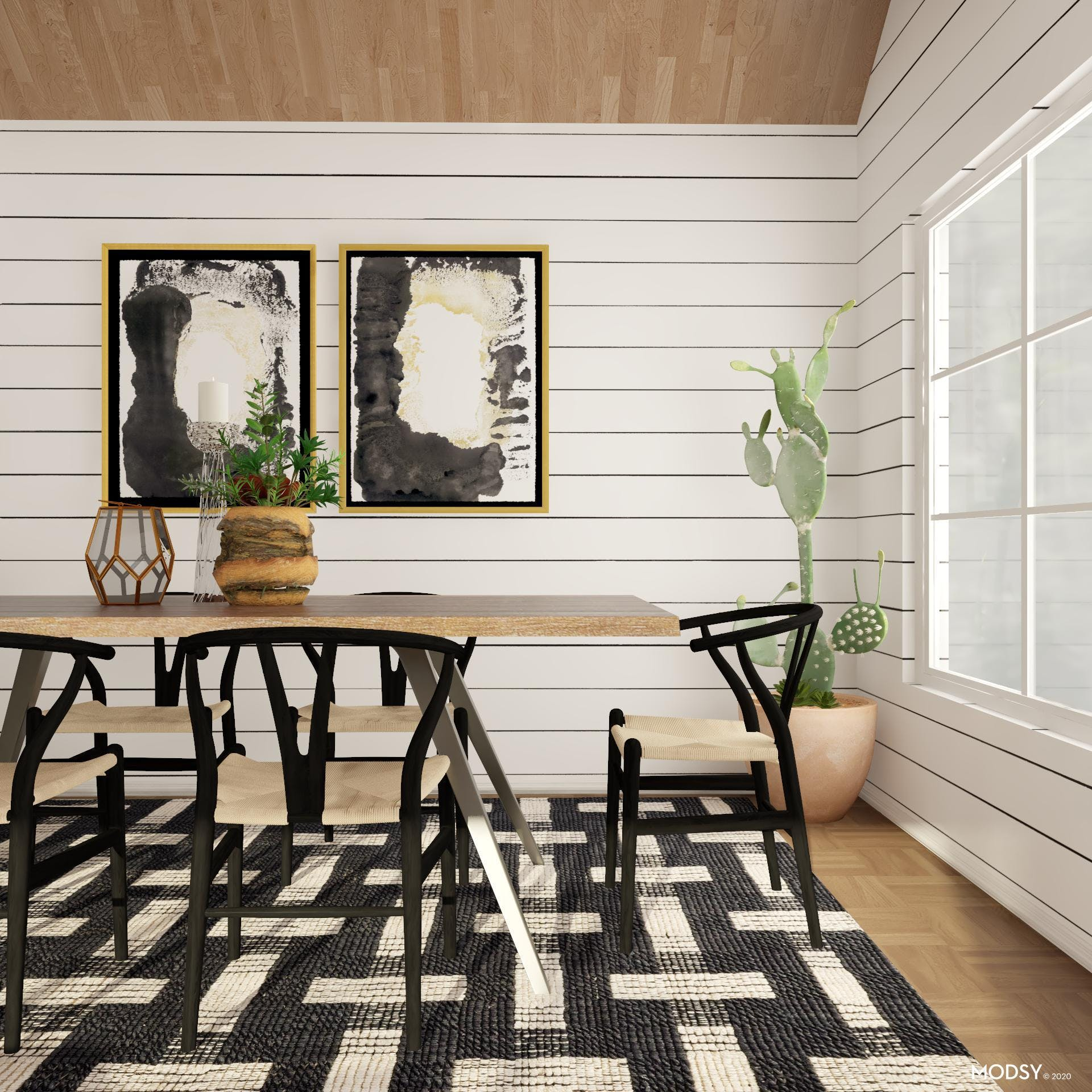 Beautiful B&W Eclectic Dining Room