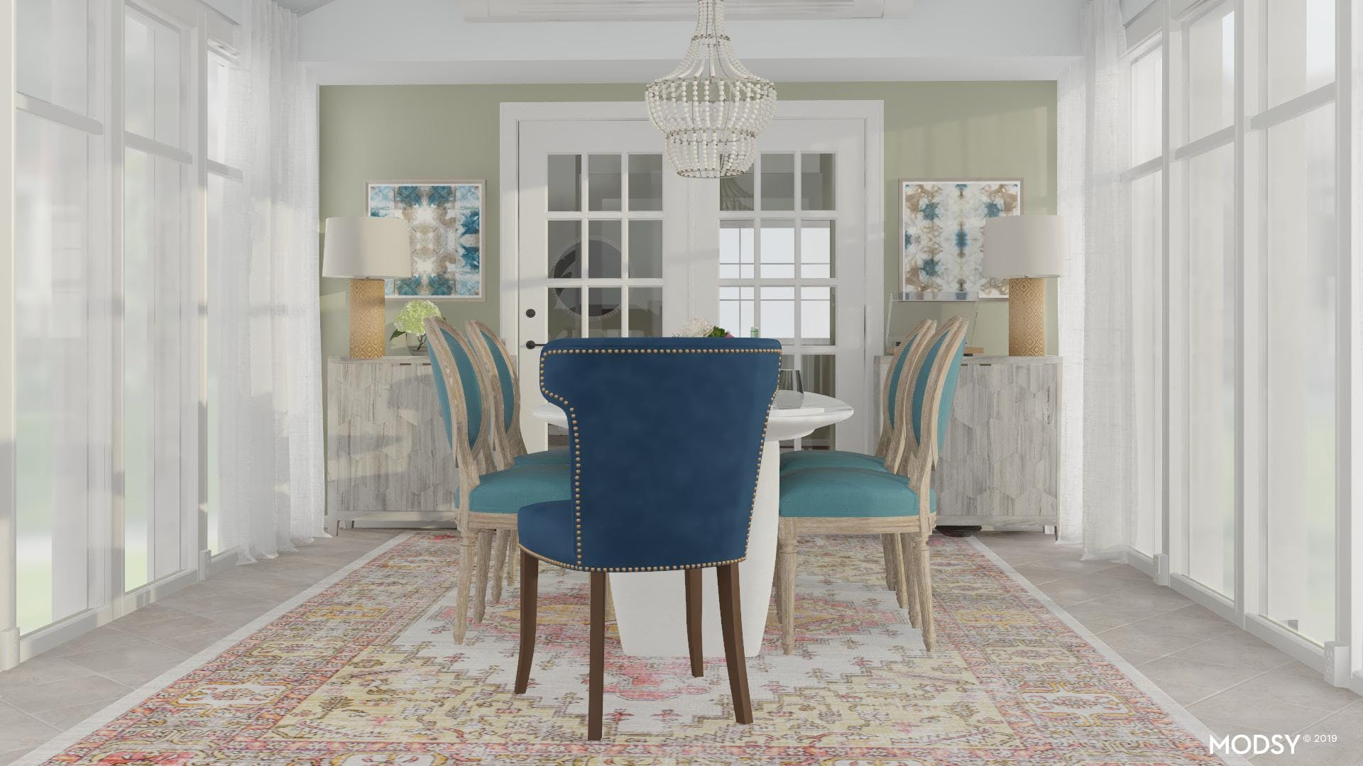 Vibrant Upholstery in a Coastal Dining Room