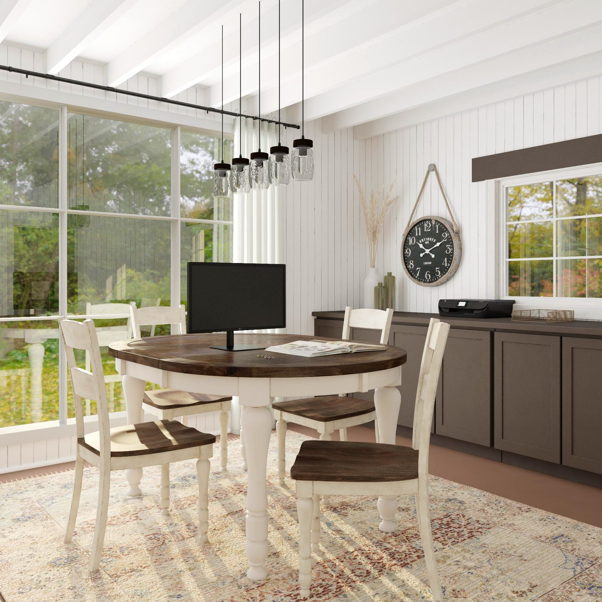 Home Office with Dining Table for Family Work Time