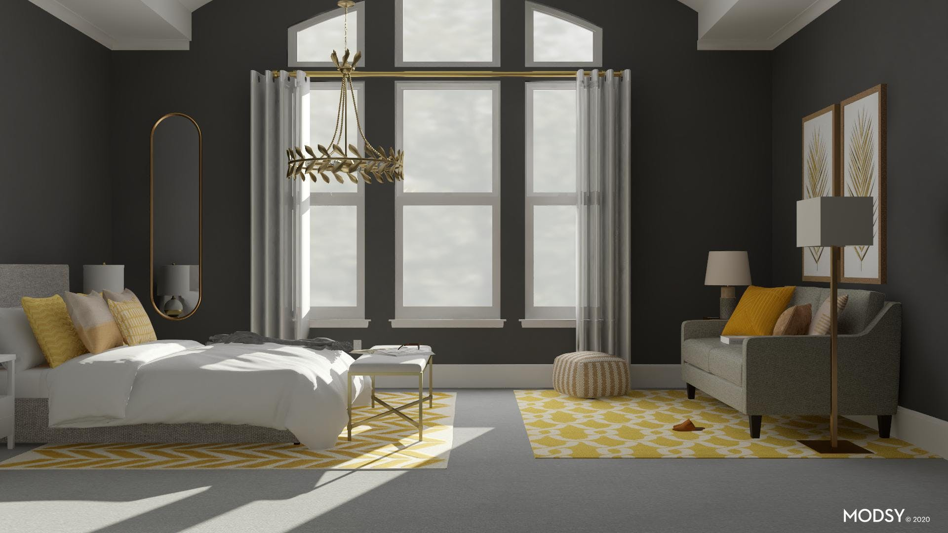 Modern Bedroom in Yellow and Gold