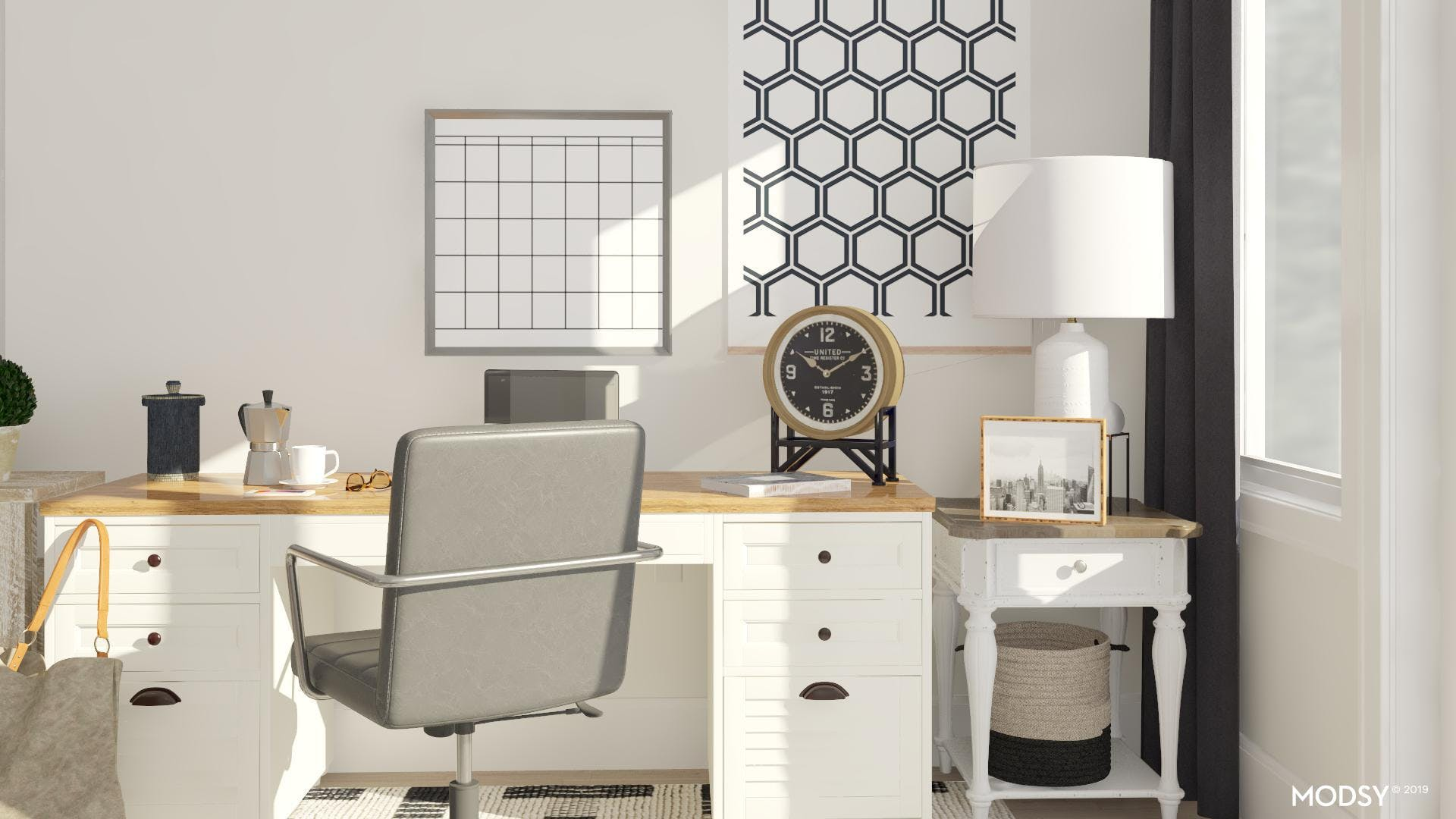 Black And White Traditional Office