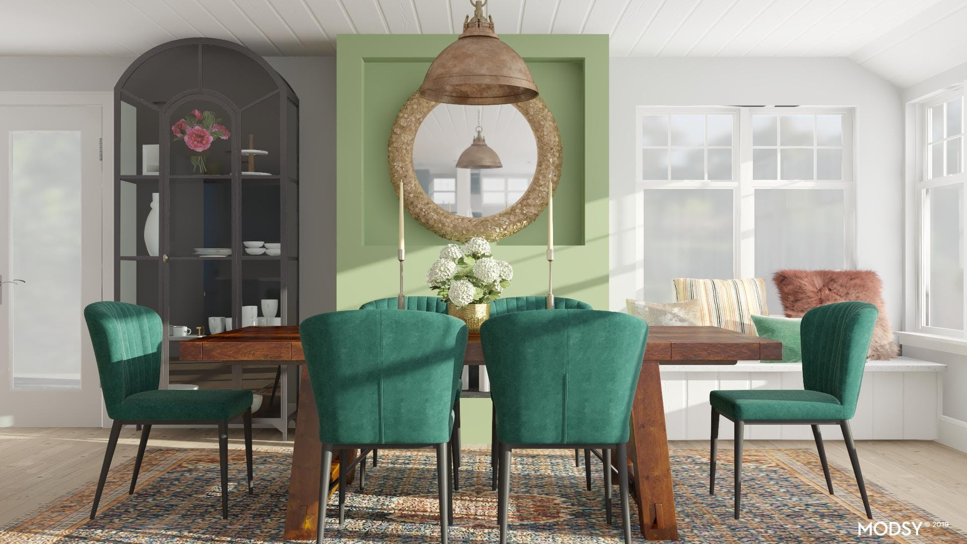 Traditional Dining Room Featuring Emerald Green