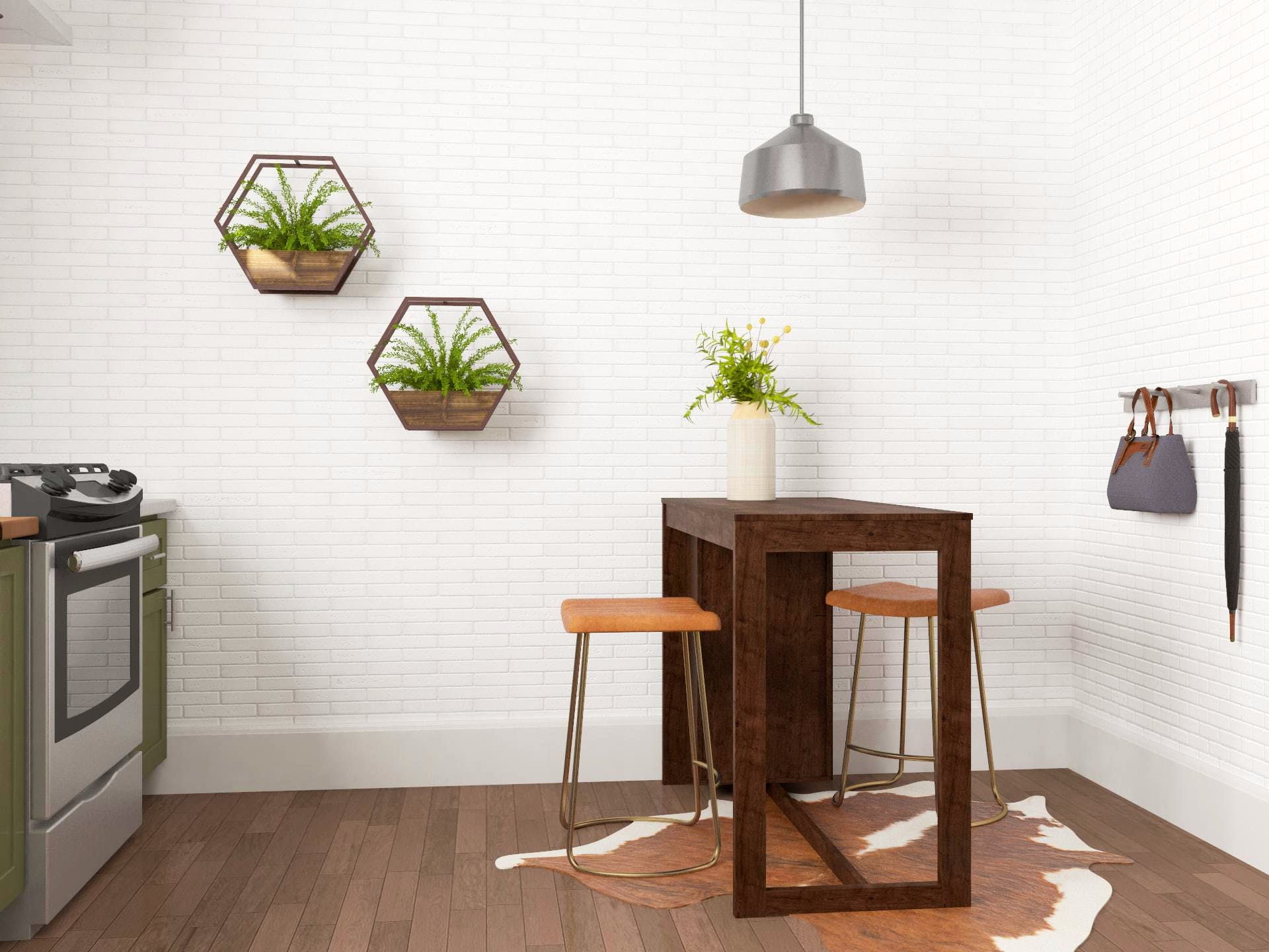 Cute and Concise Industrial Style Dining Area