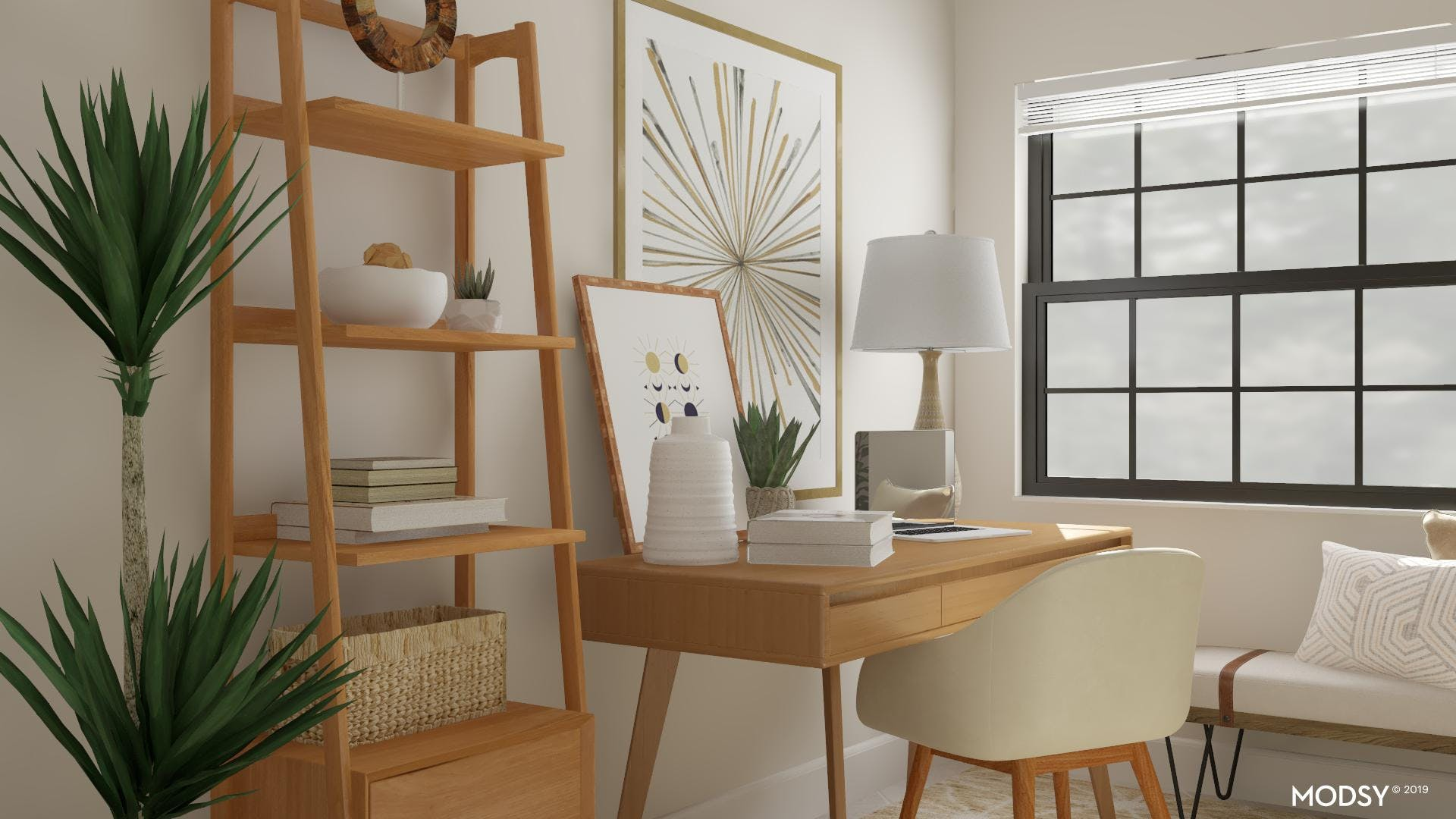 Mid-Century Office With Neutral Accents