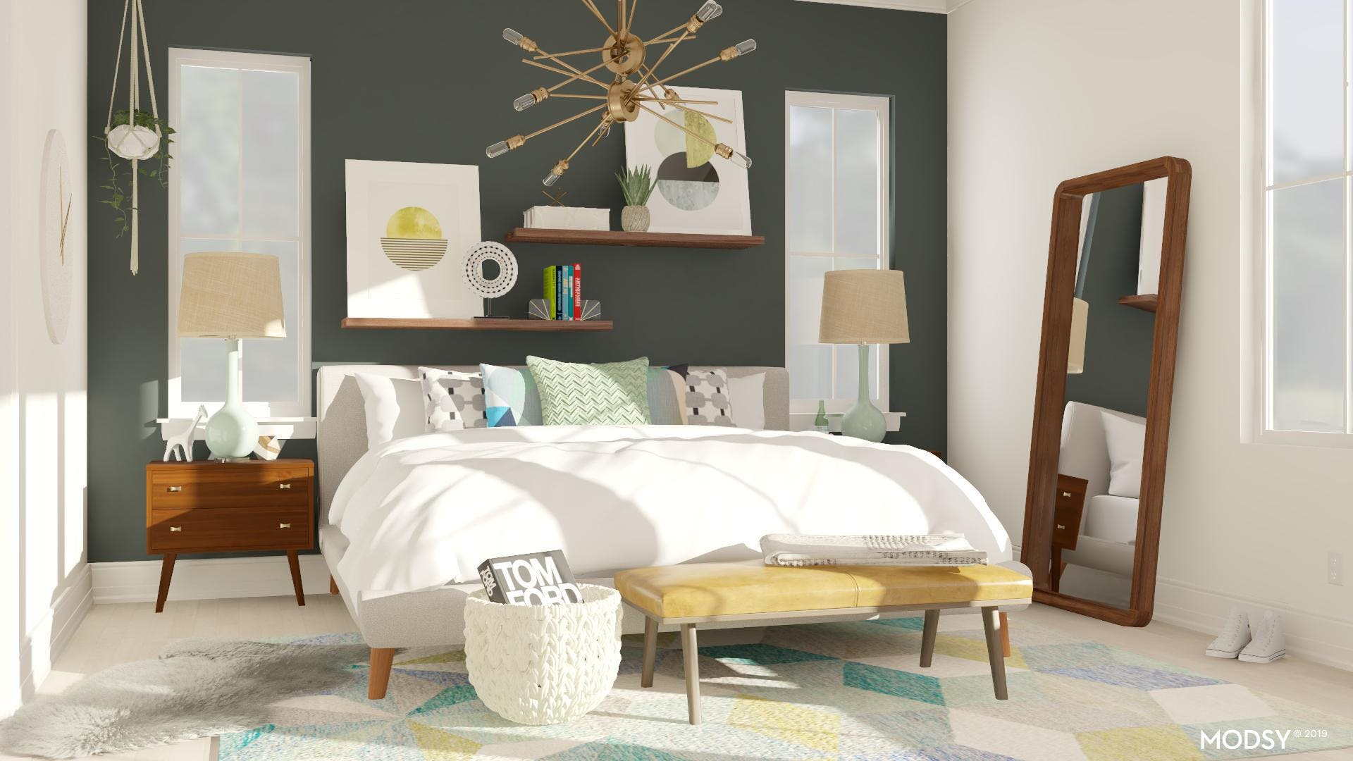 Green Accent Walls for a Mid-Century Bedroom