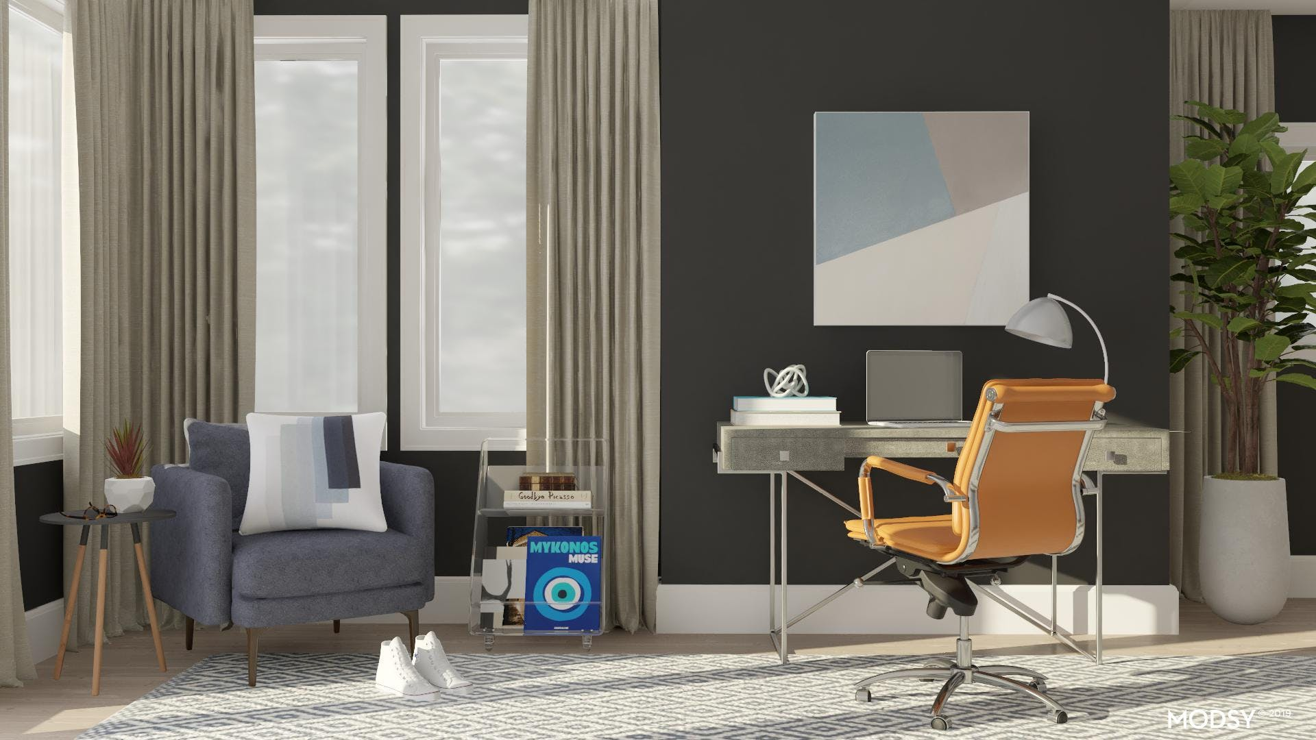 A Modern Blue Office with Accent Seating