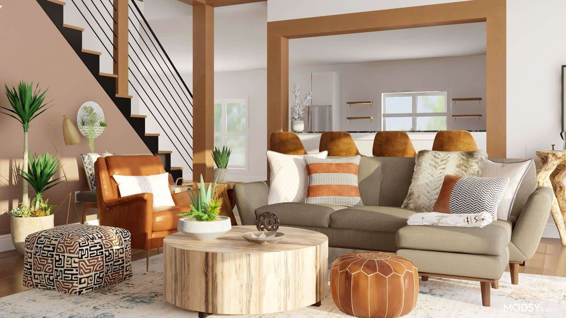 Organic, Eclectic, Neutral Living Room