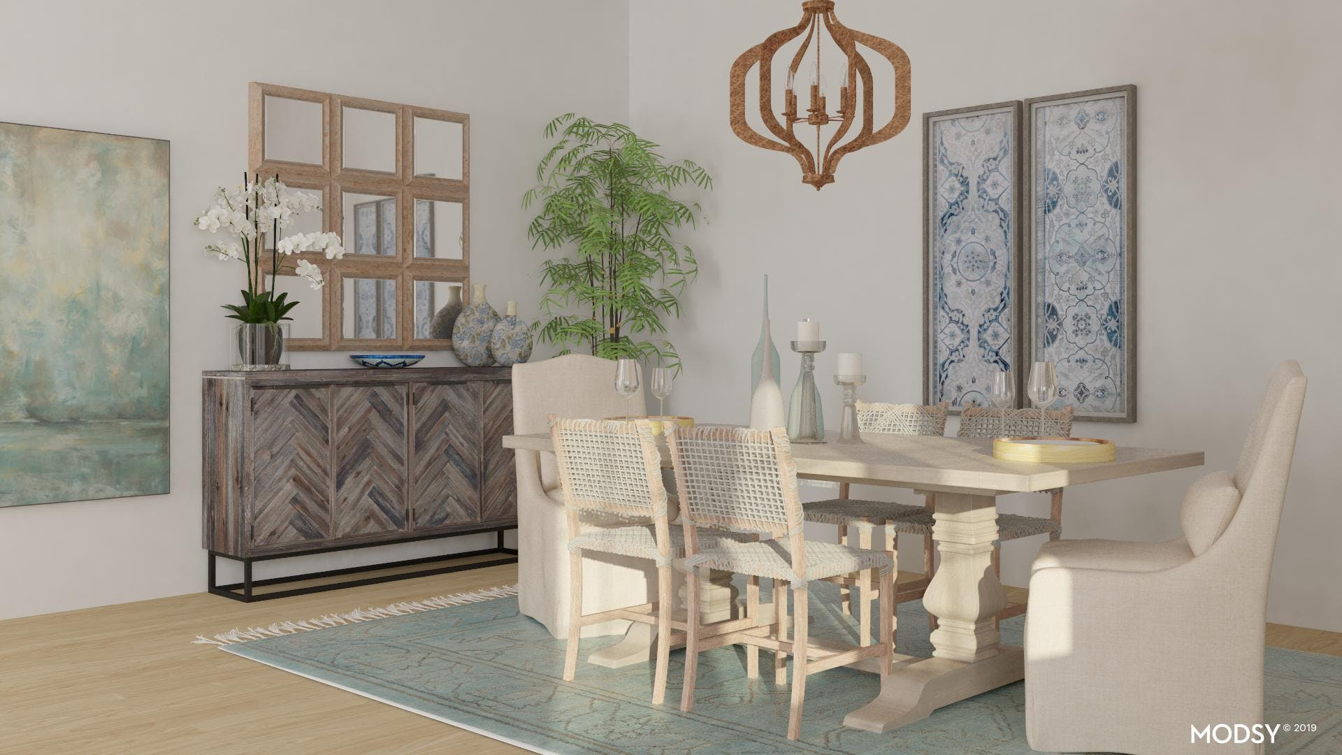 Pastel Blues and Greens for a Soothing Dining Room