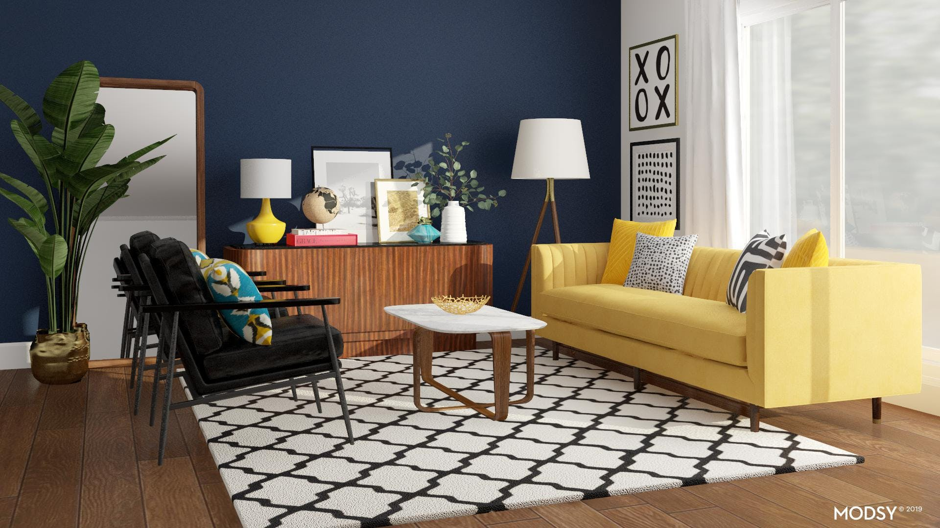 Colorful Chic Midcentury Living Room