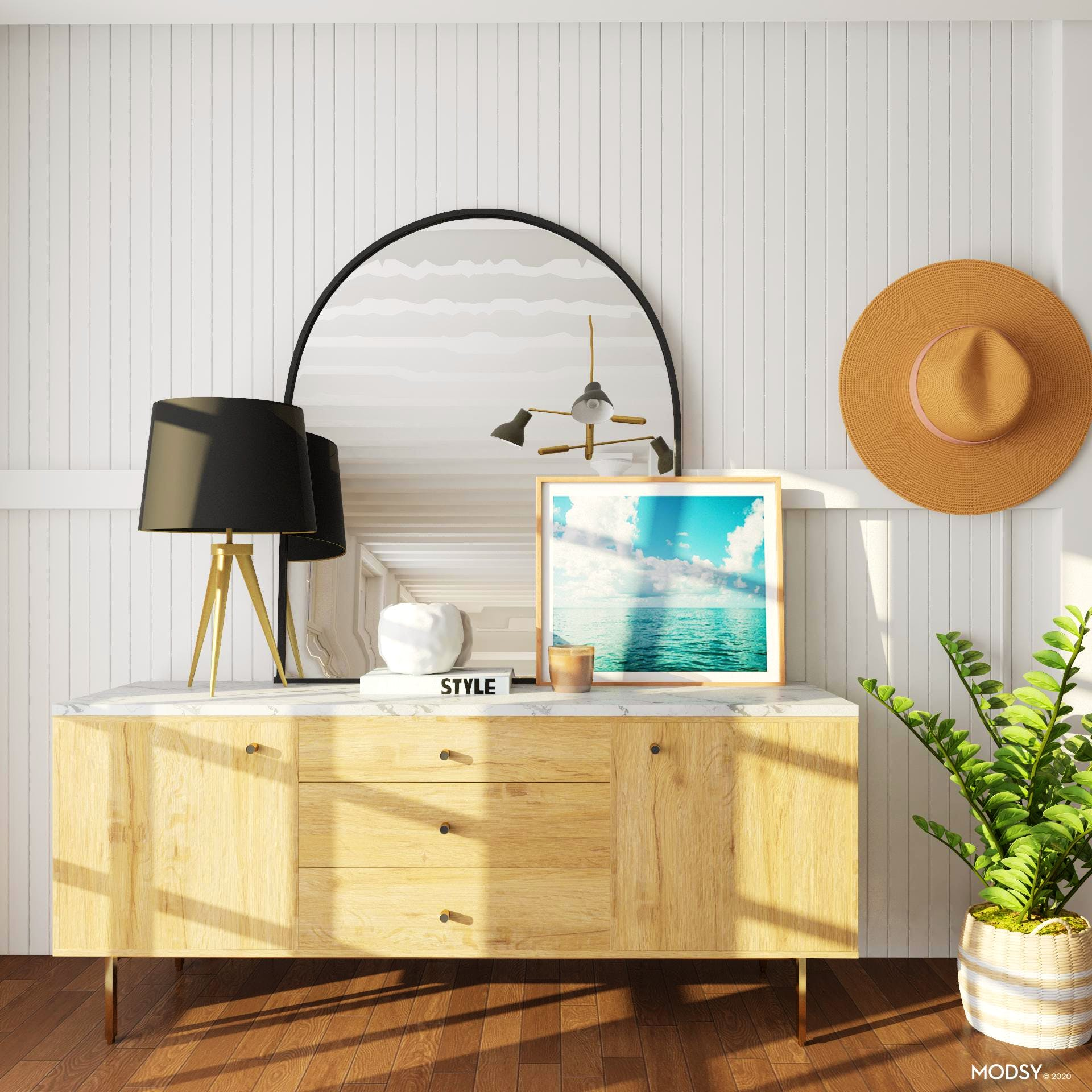 Beachy Mid-Century-Modern Living Room with a Twist