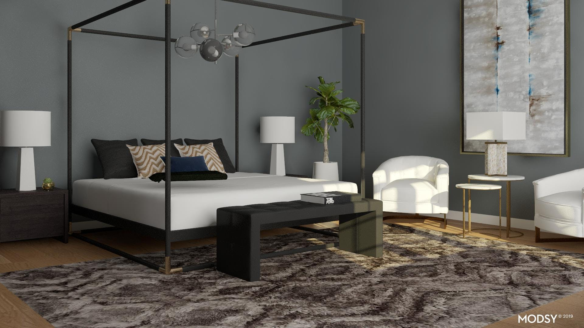 Moody Bedroom with Modern Style