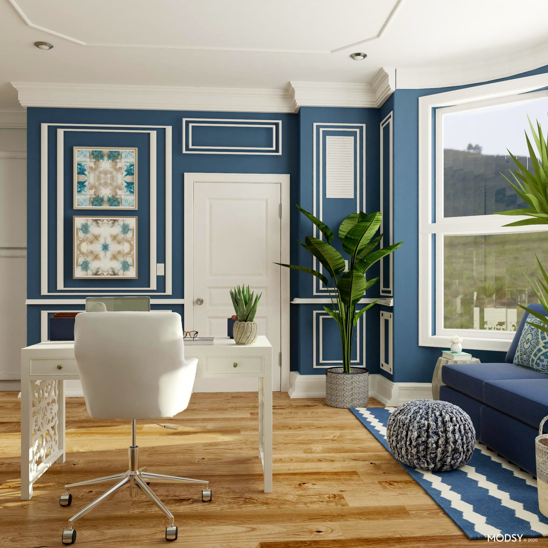 Transitional Blue Workspace