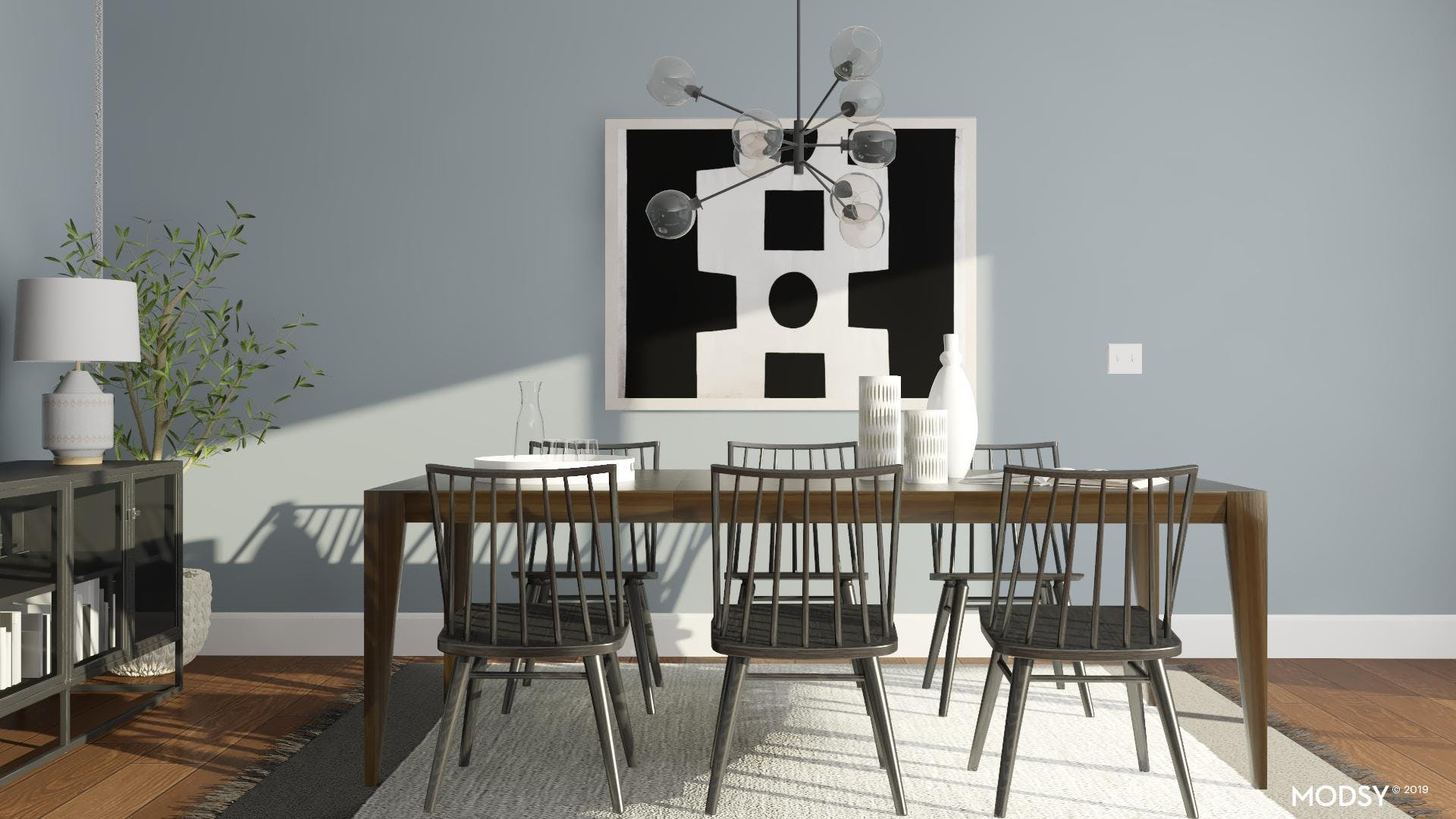 Modern Dining Room With Monochrome