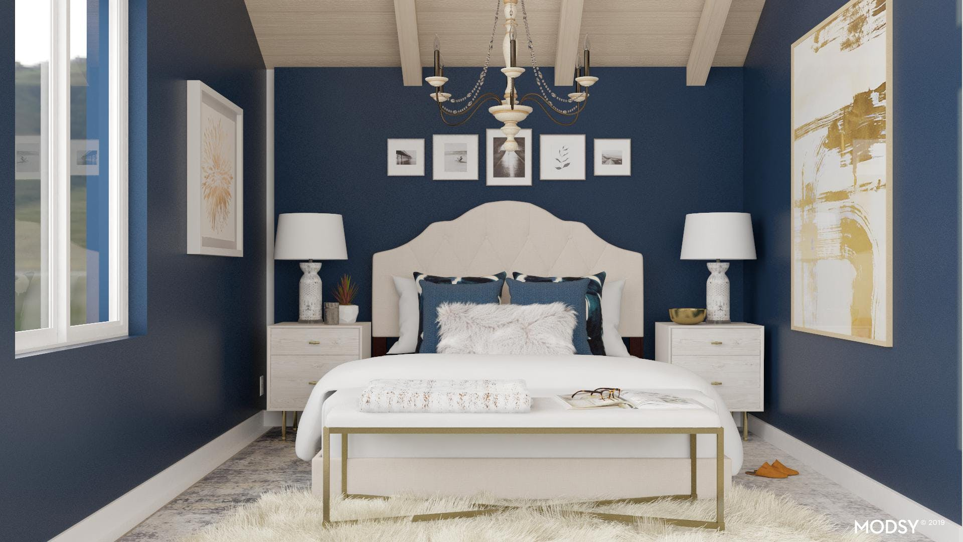 Drama for a Glamourous Blue Bedroom