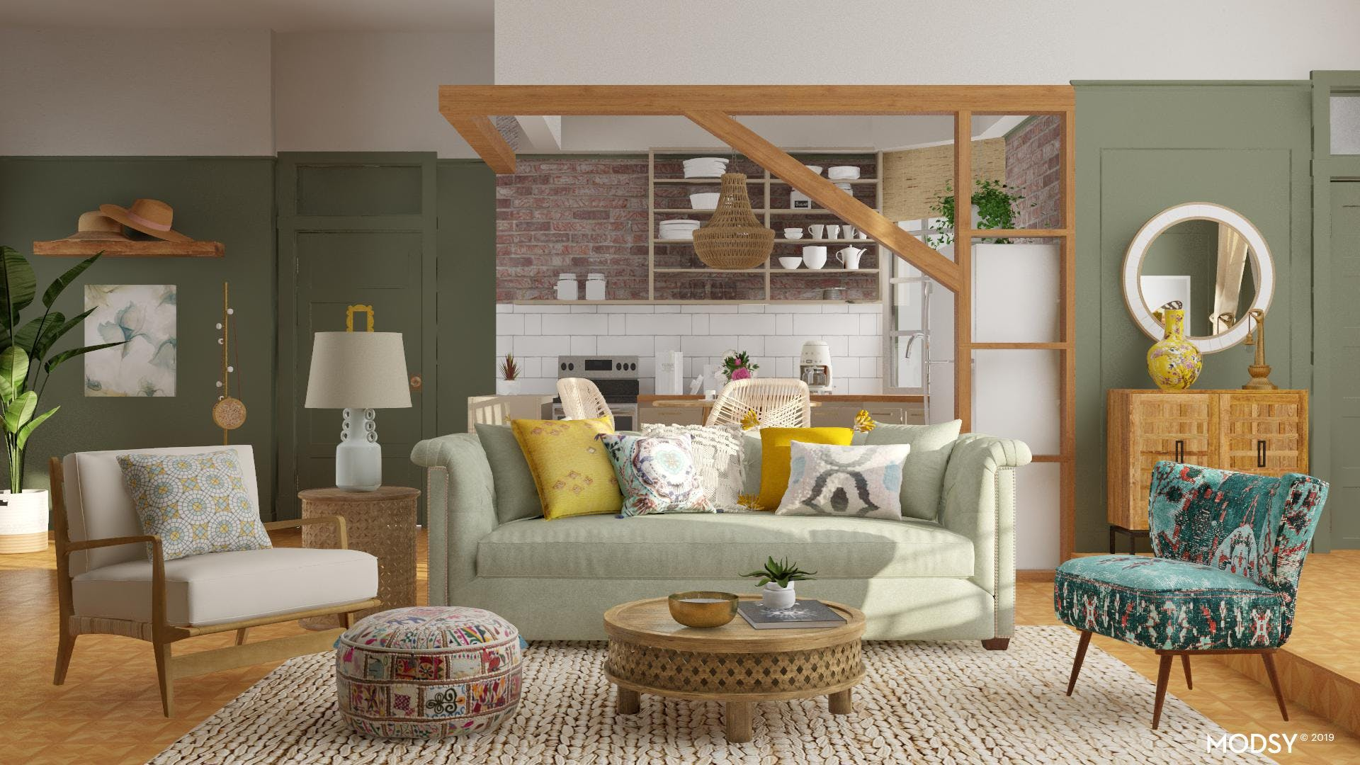 Eclectically Pastel Living Room