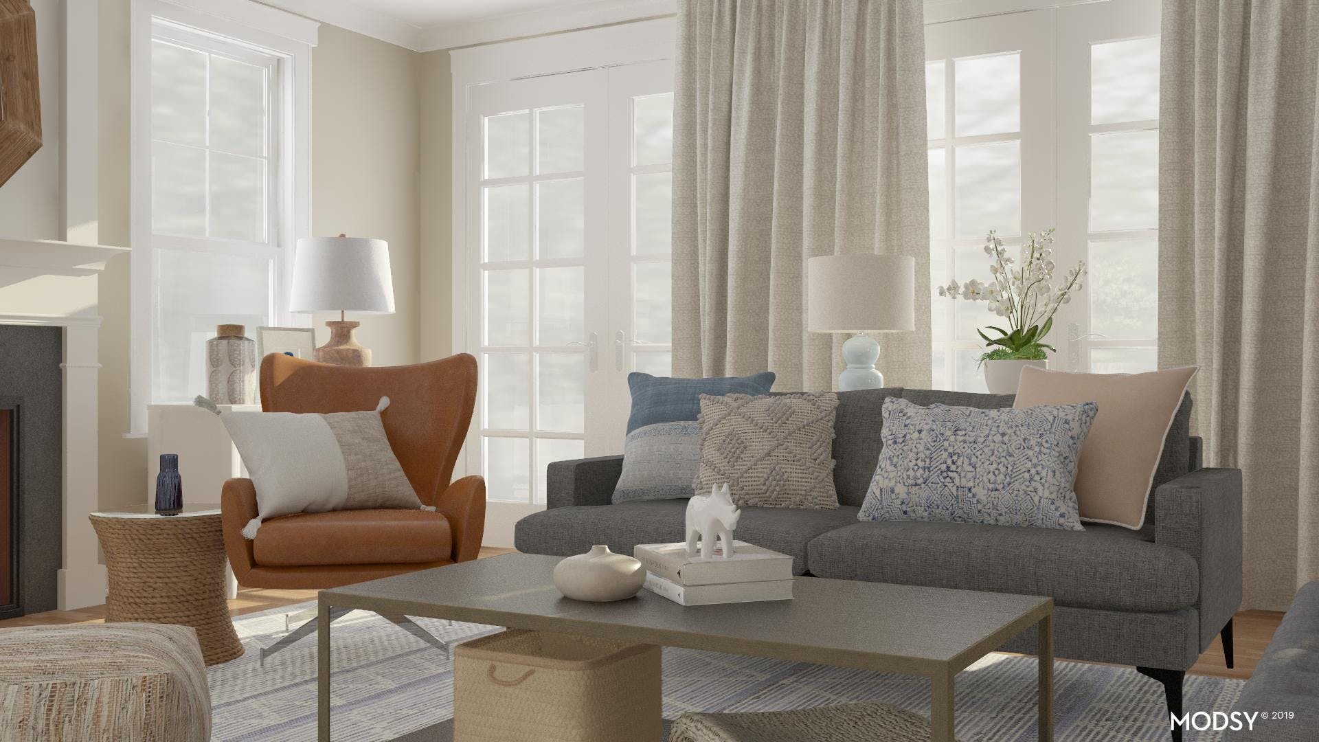 Mixing Materials In A Transitional Living Room