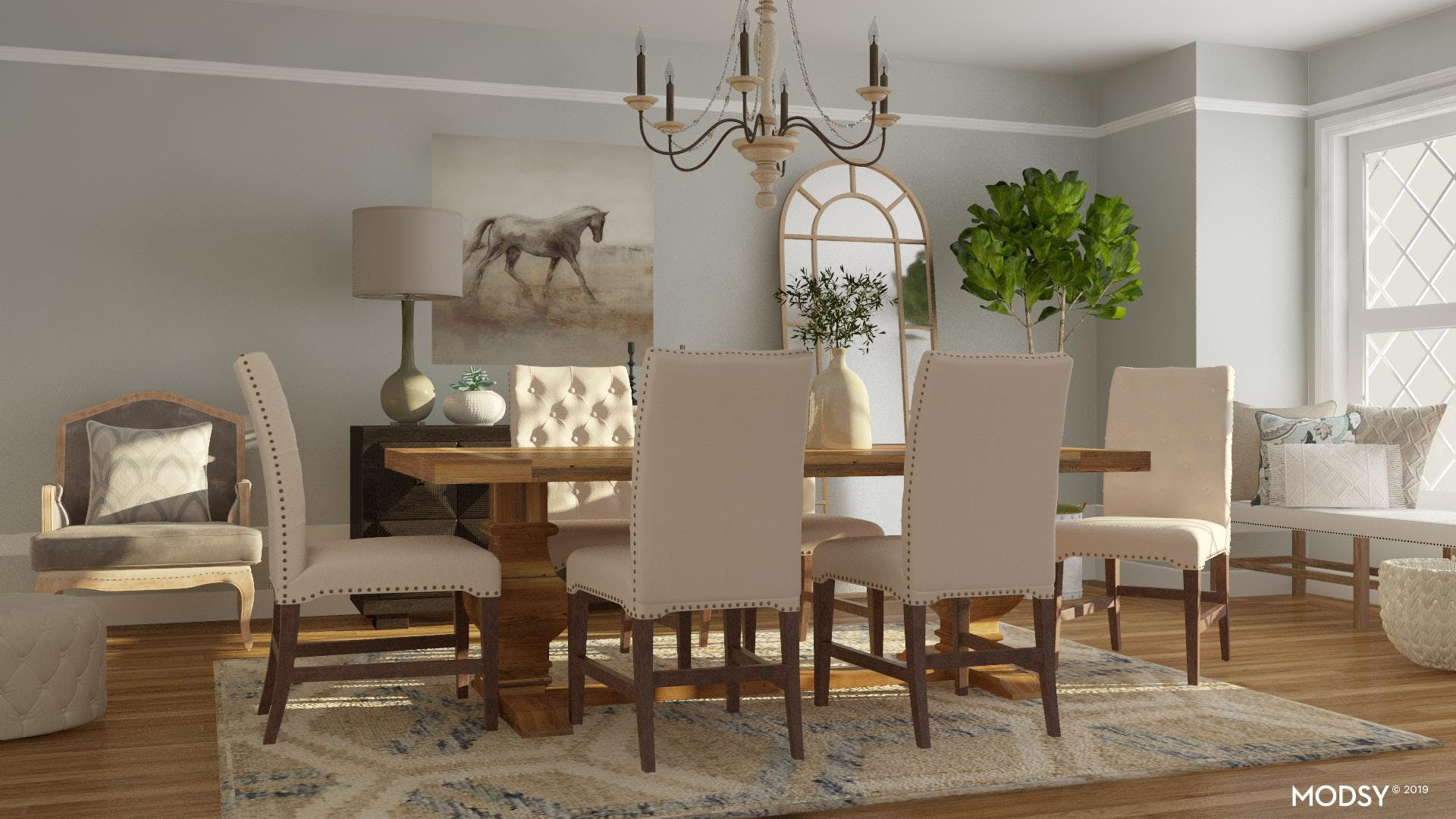 A Neutral Dining Room with Rustic Flair