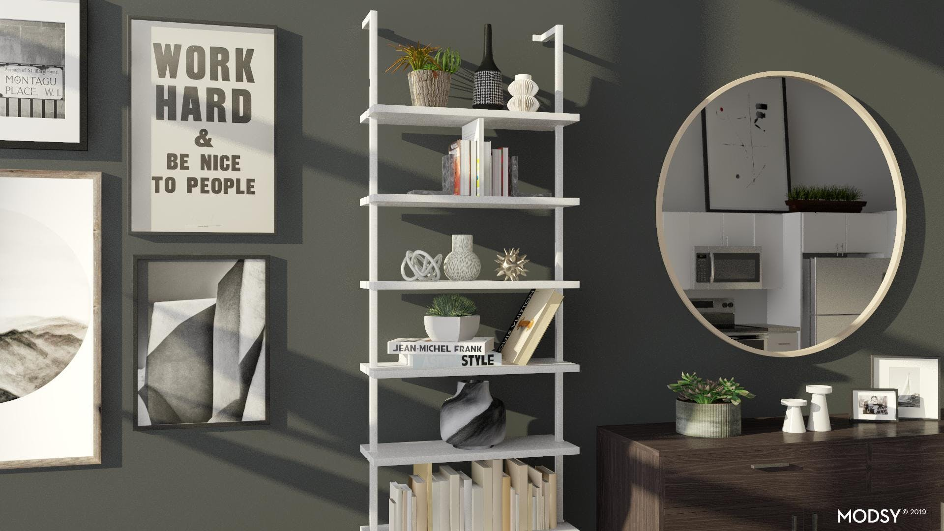Modern Black and White Bookcase Styling