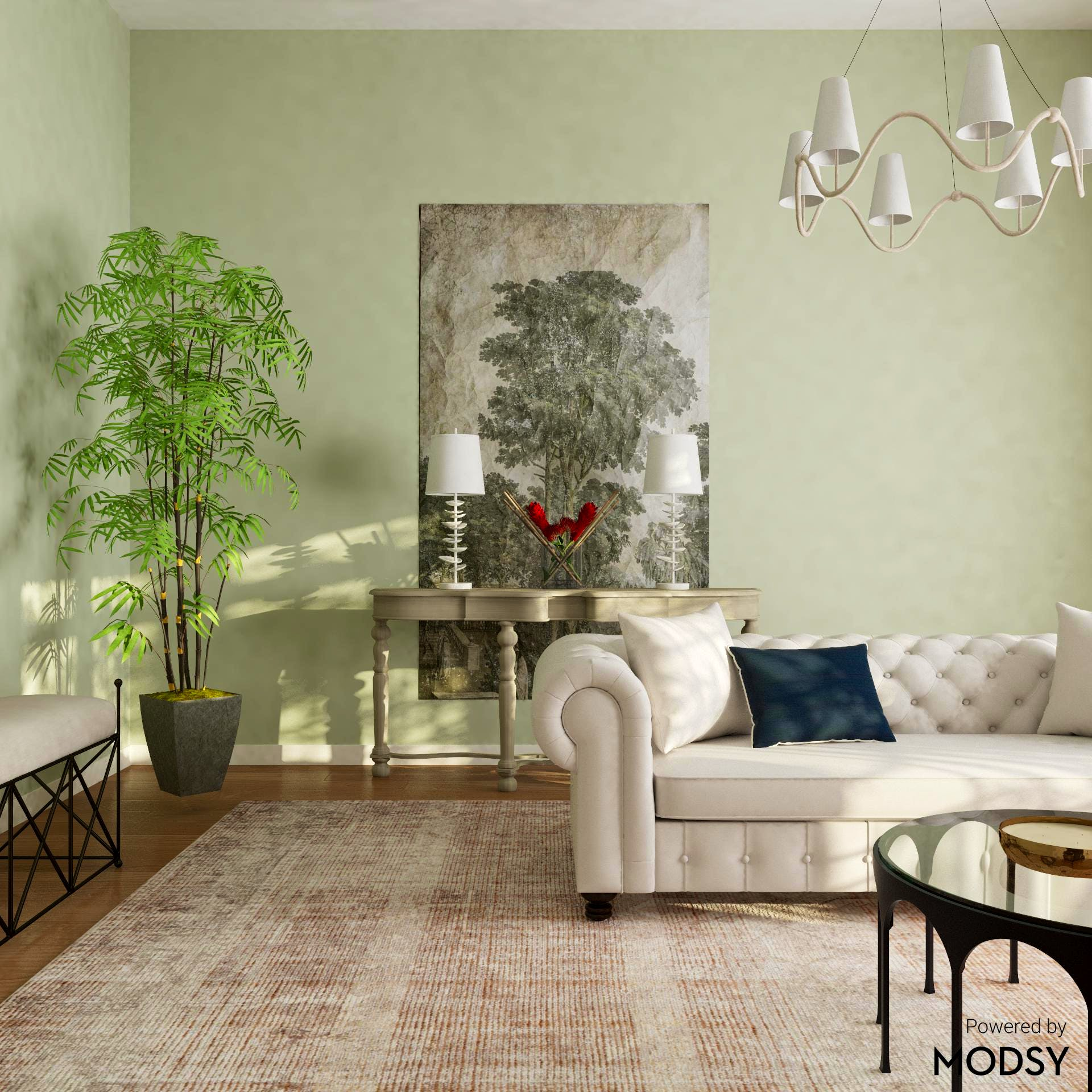 Wall Mural In a Transitional Living Room