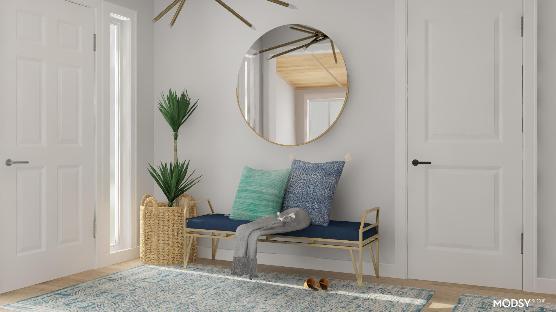 Comfy And Cozy Blue Mid-Century Entry