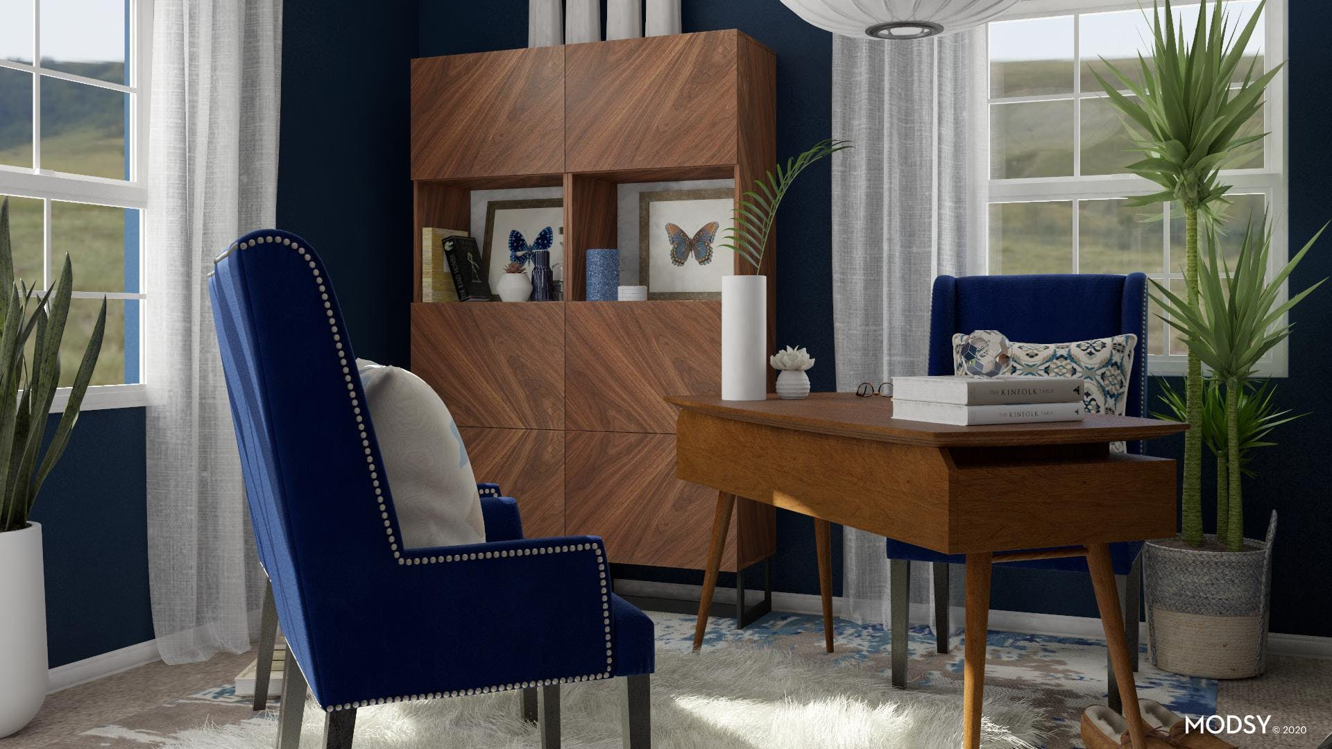 A Mid-Century Modern Office In Blue Tones
