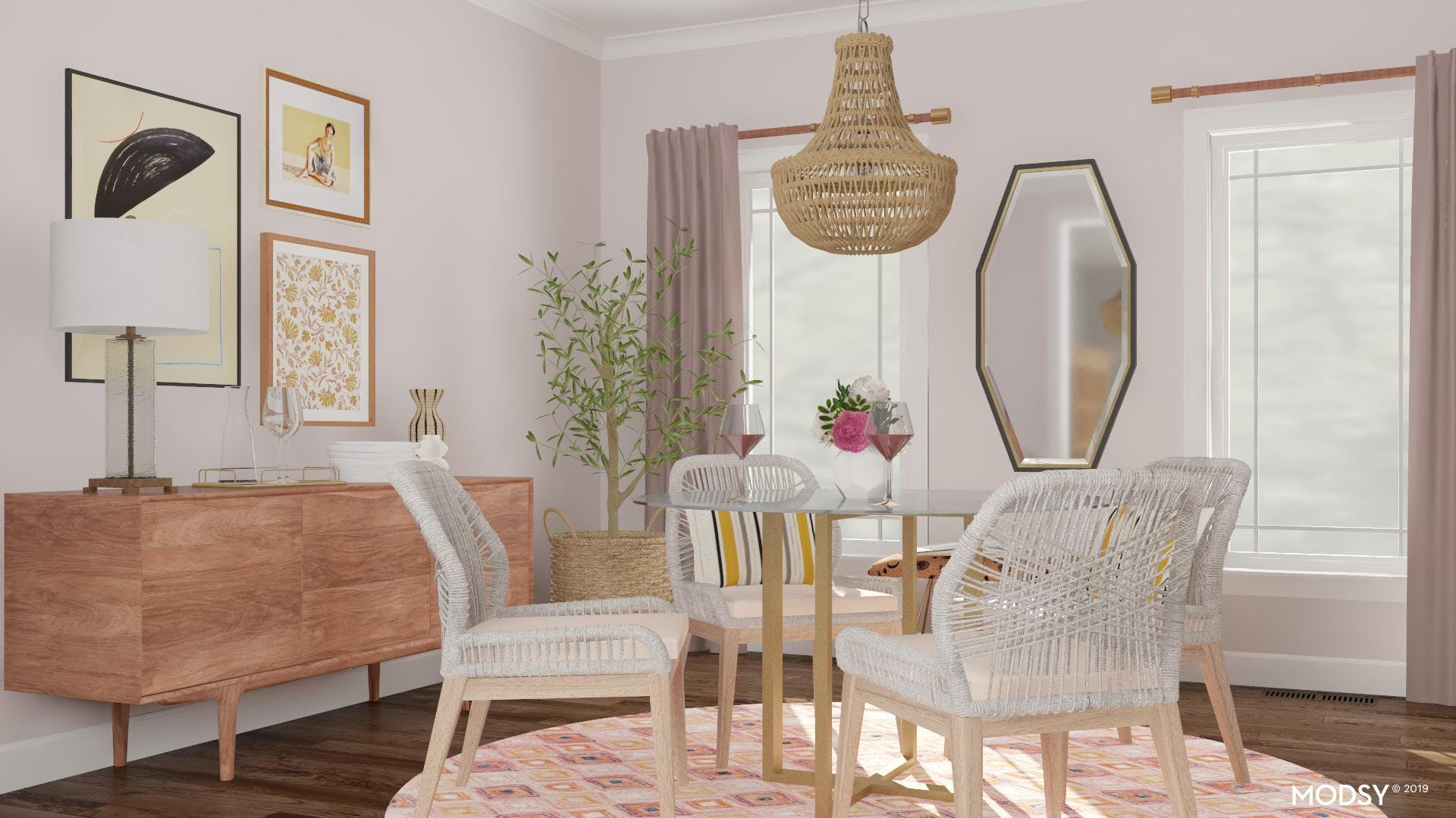 A Gallery Wall Statement in a Pastel Dining Room