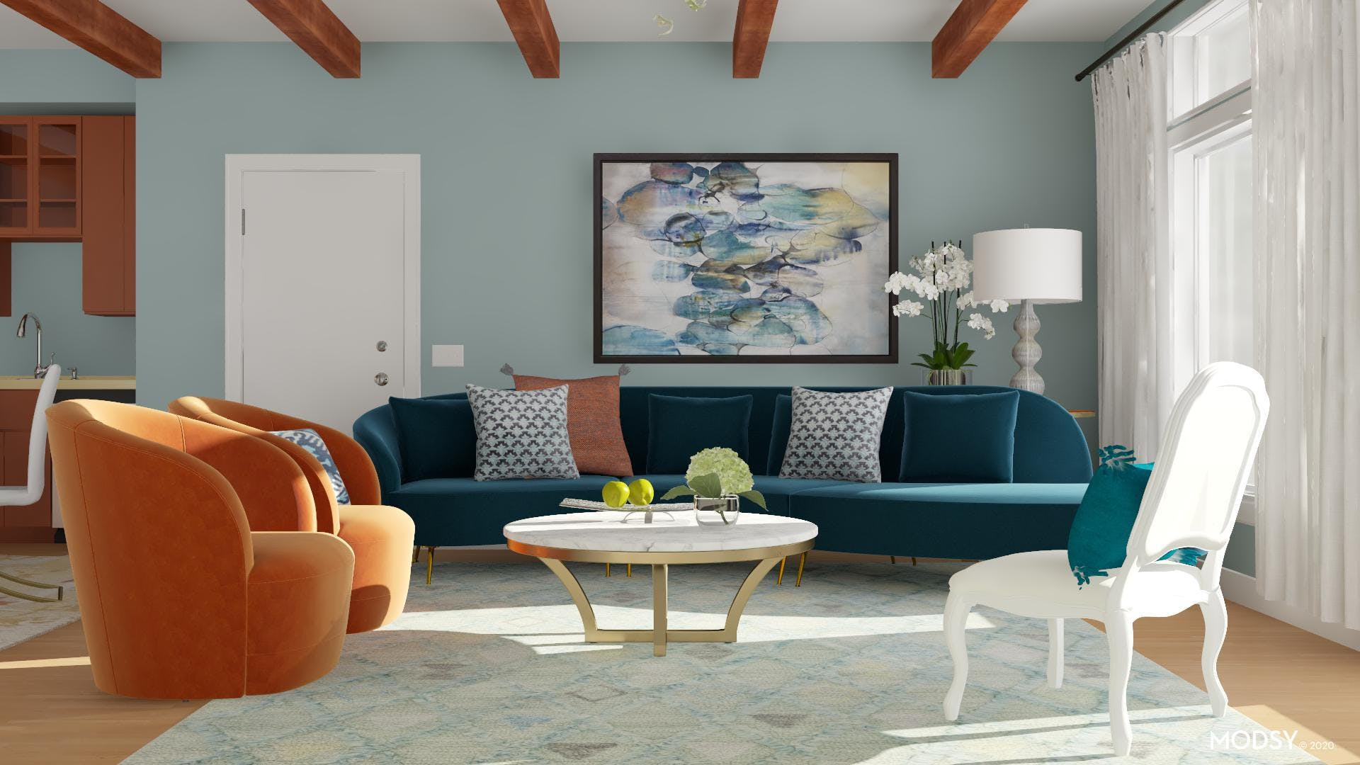 Modern Living Room: Bold Colors