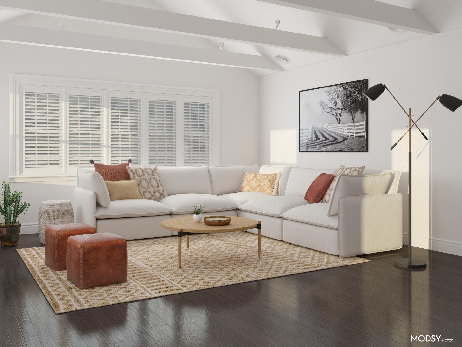 Mid-Size Patterned Rug Adds Pattern to Comfy Contemporary Living Room