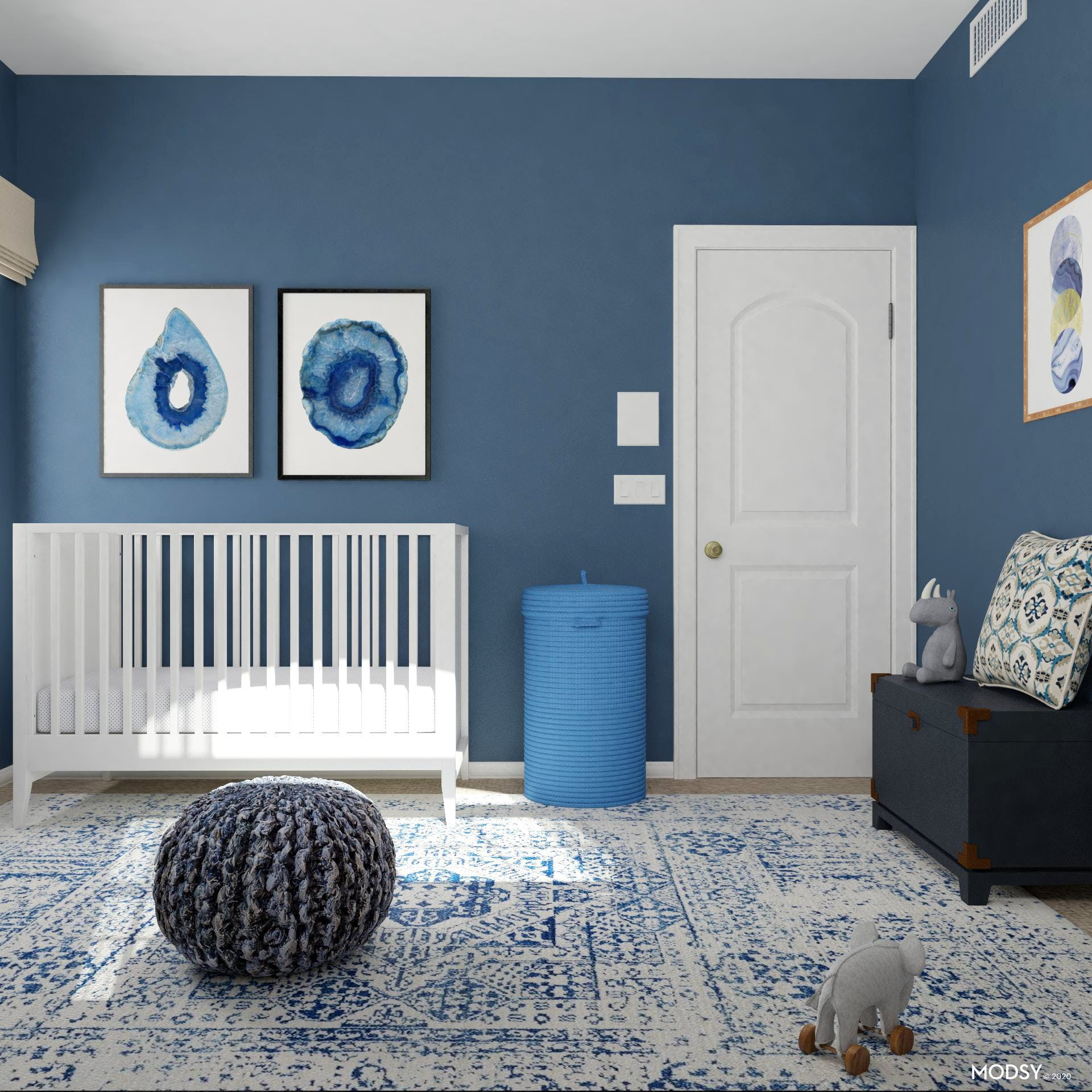 Simple Crib and Pop of Blue