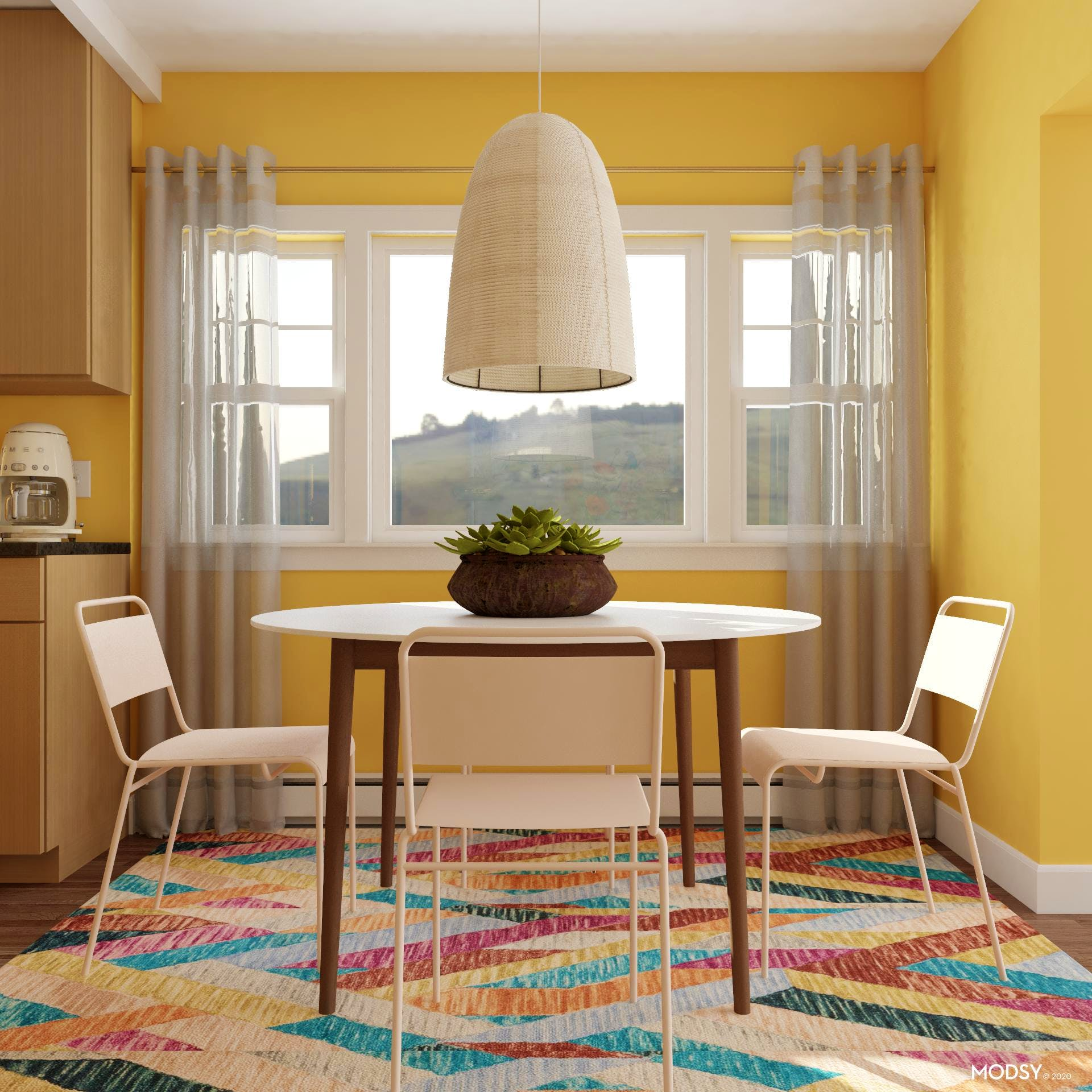 A Colorful Contemporary Dining Room