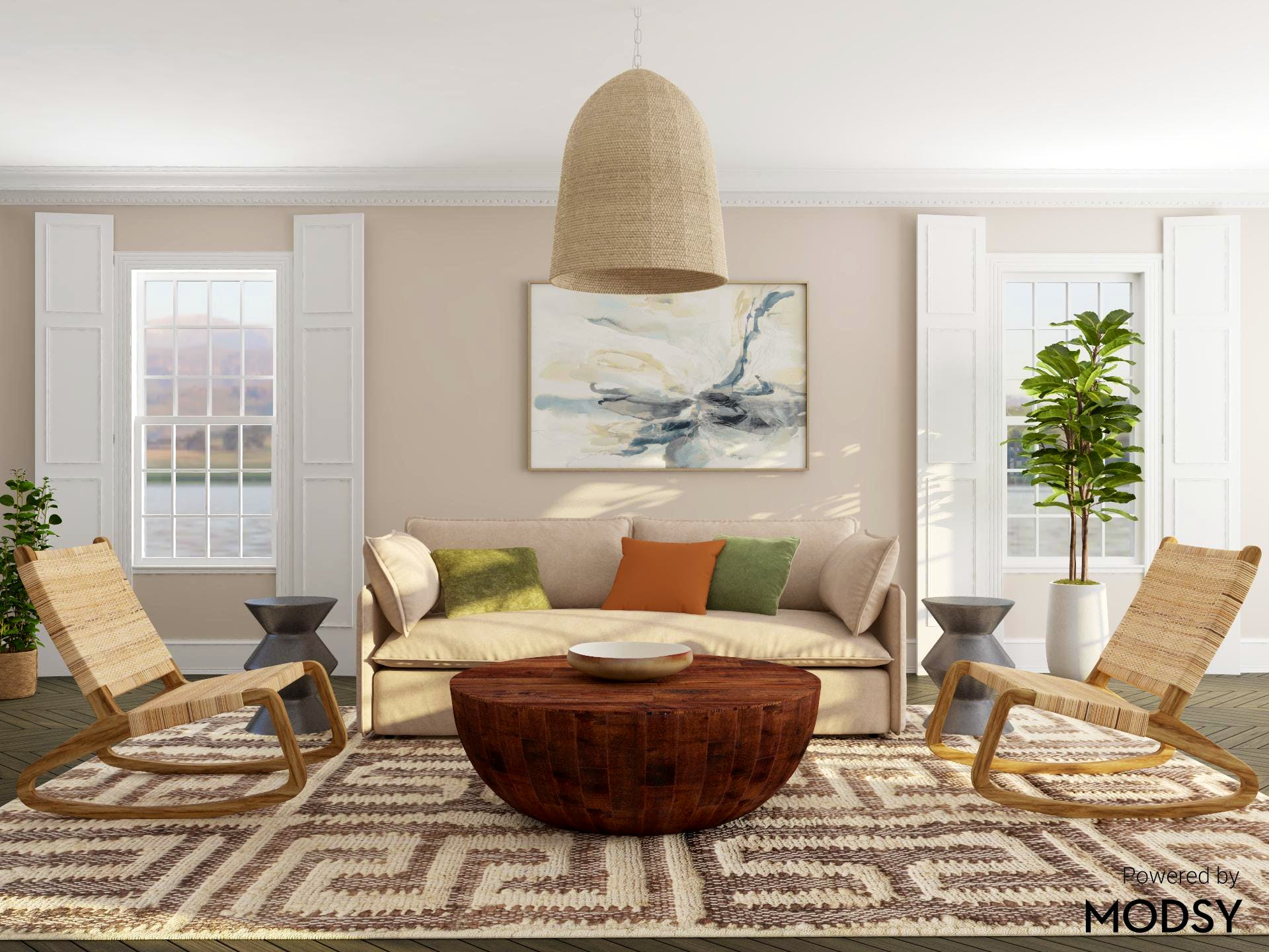 Woven Textures Abound in Contemporary Living Room