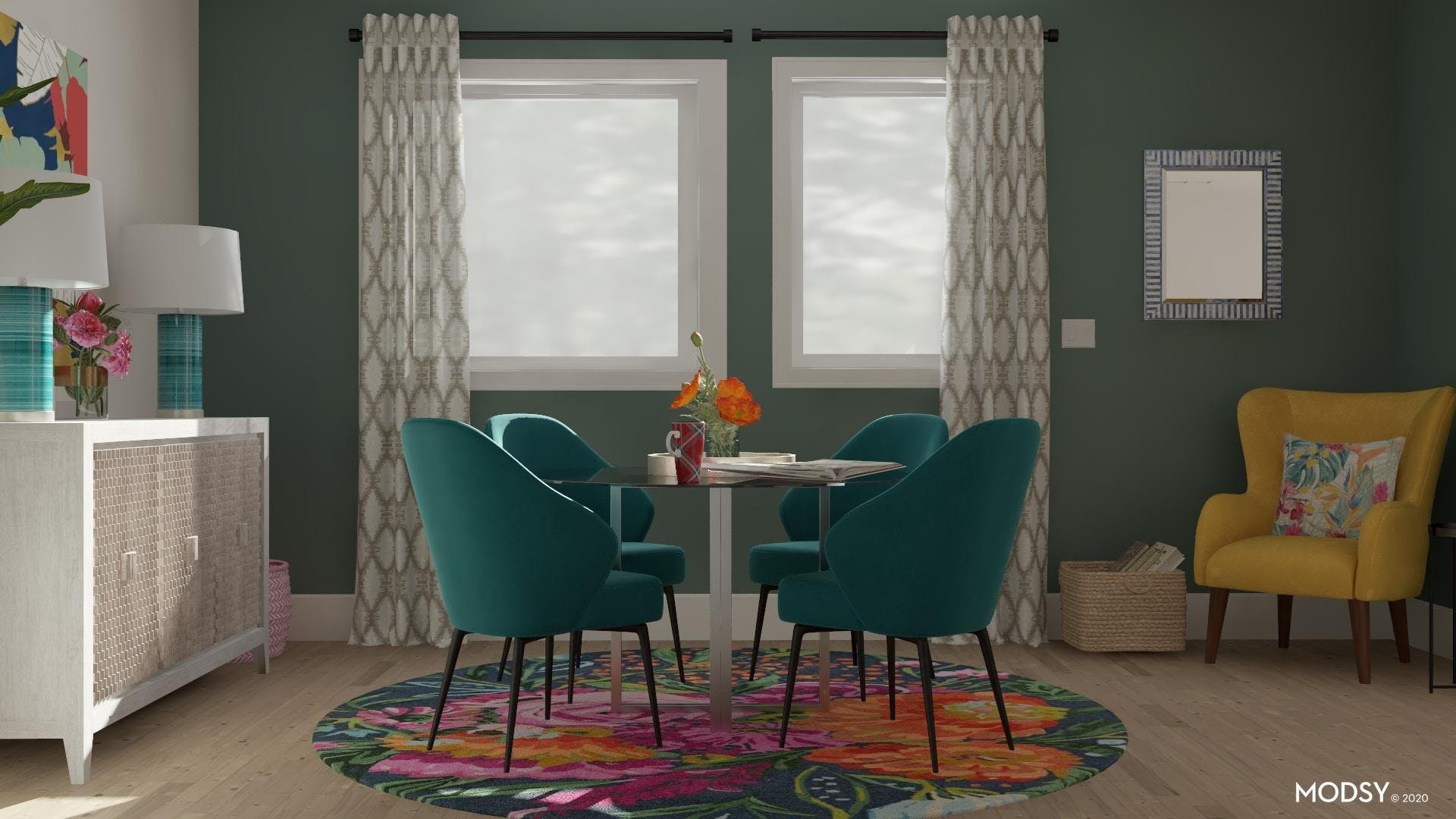 Complementary Colors: Eclectic Dining