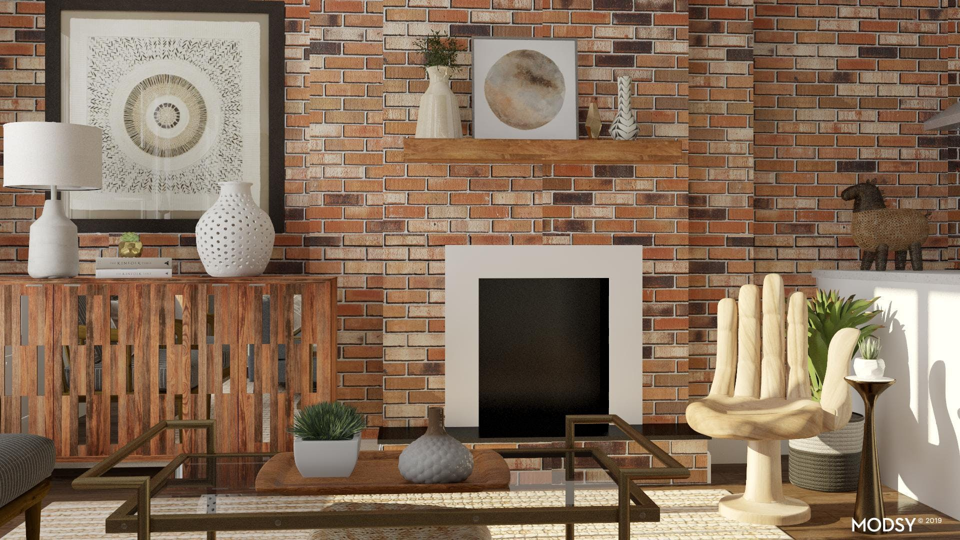 Eclectic Fireplace Seat