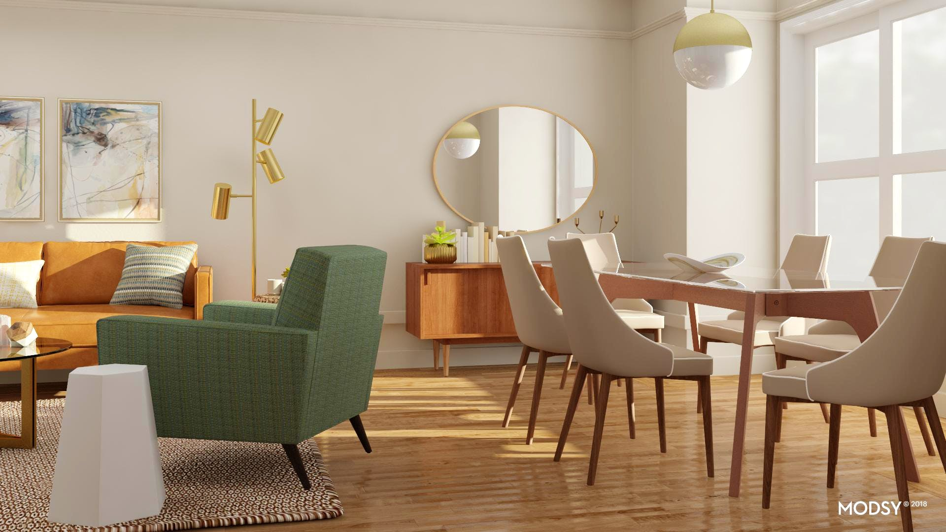 Organic Modernist Open Dining Space