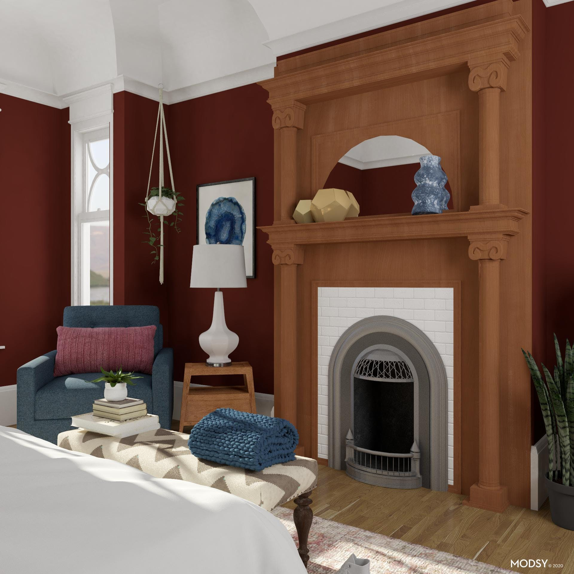 Transitional Bedroom with Fireplace