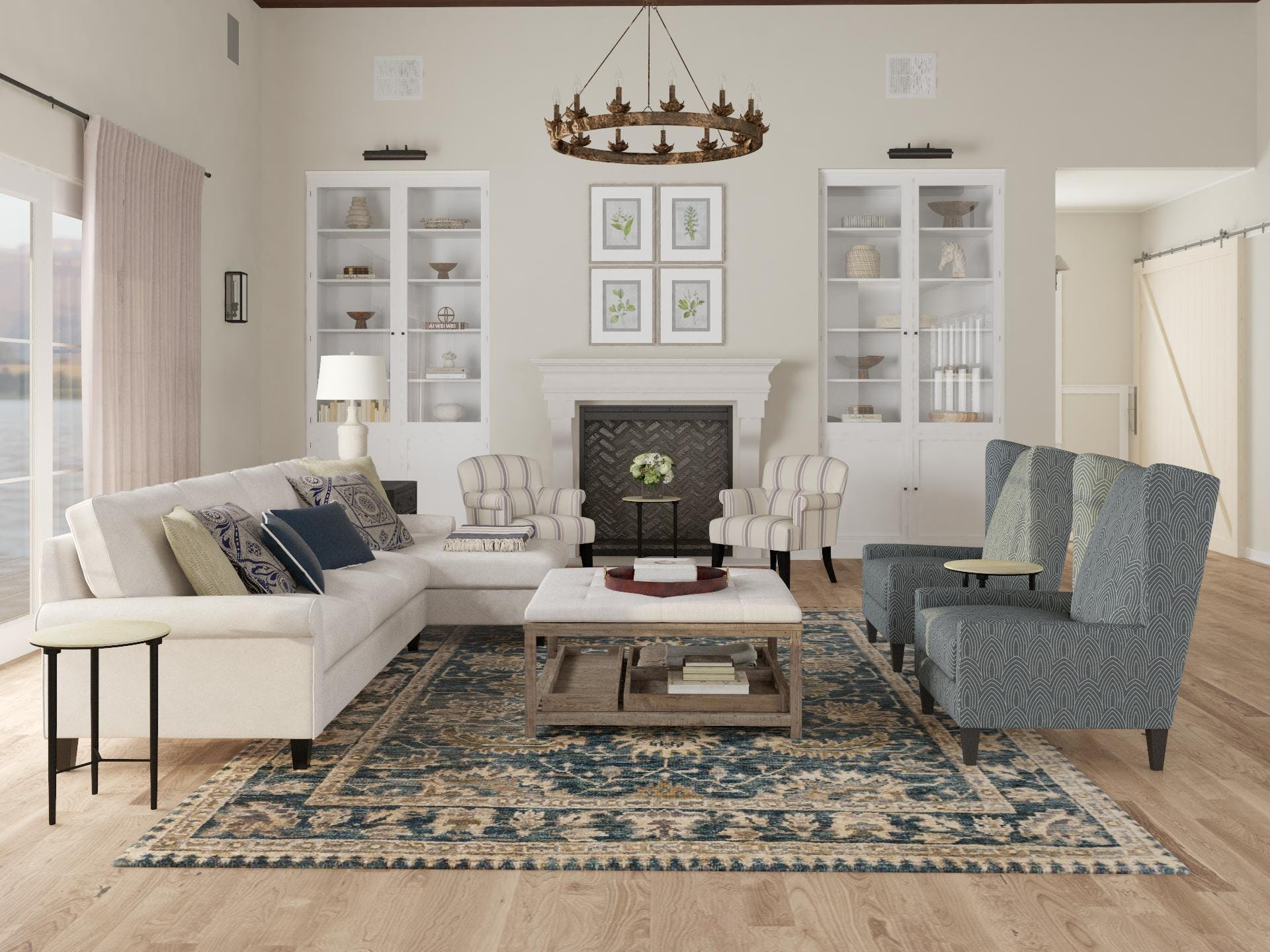 New Traditional Living Room with Formal Layout