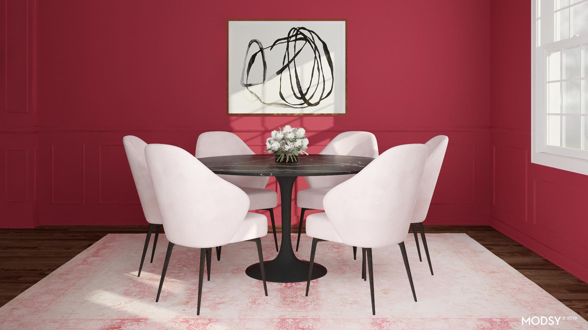 Crushing on this Pretty in Pink Dining Room