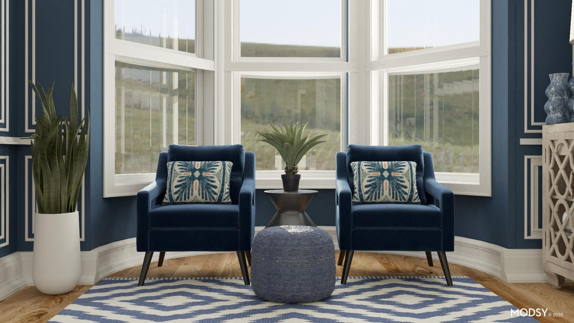 Office Seating with a Pop of Blue